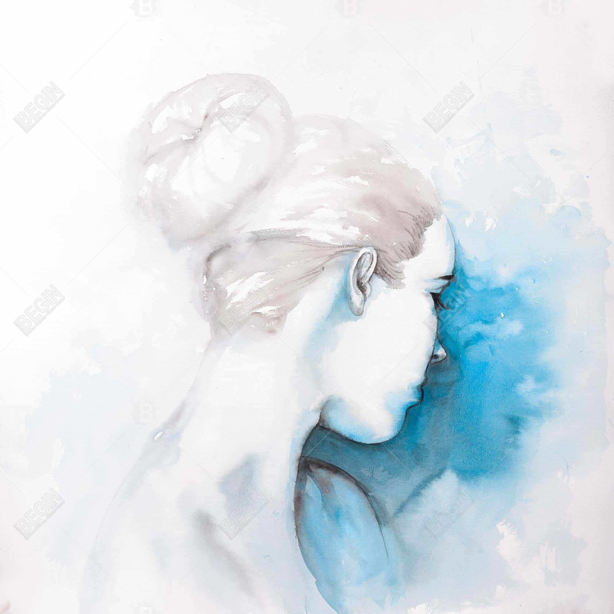 Watercolor abstract girl with hair bun