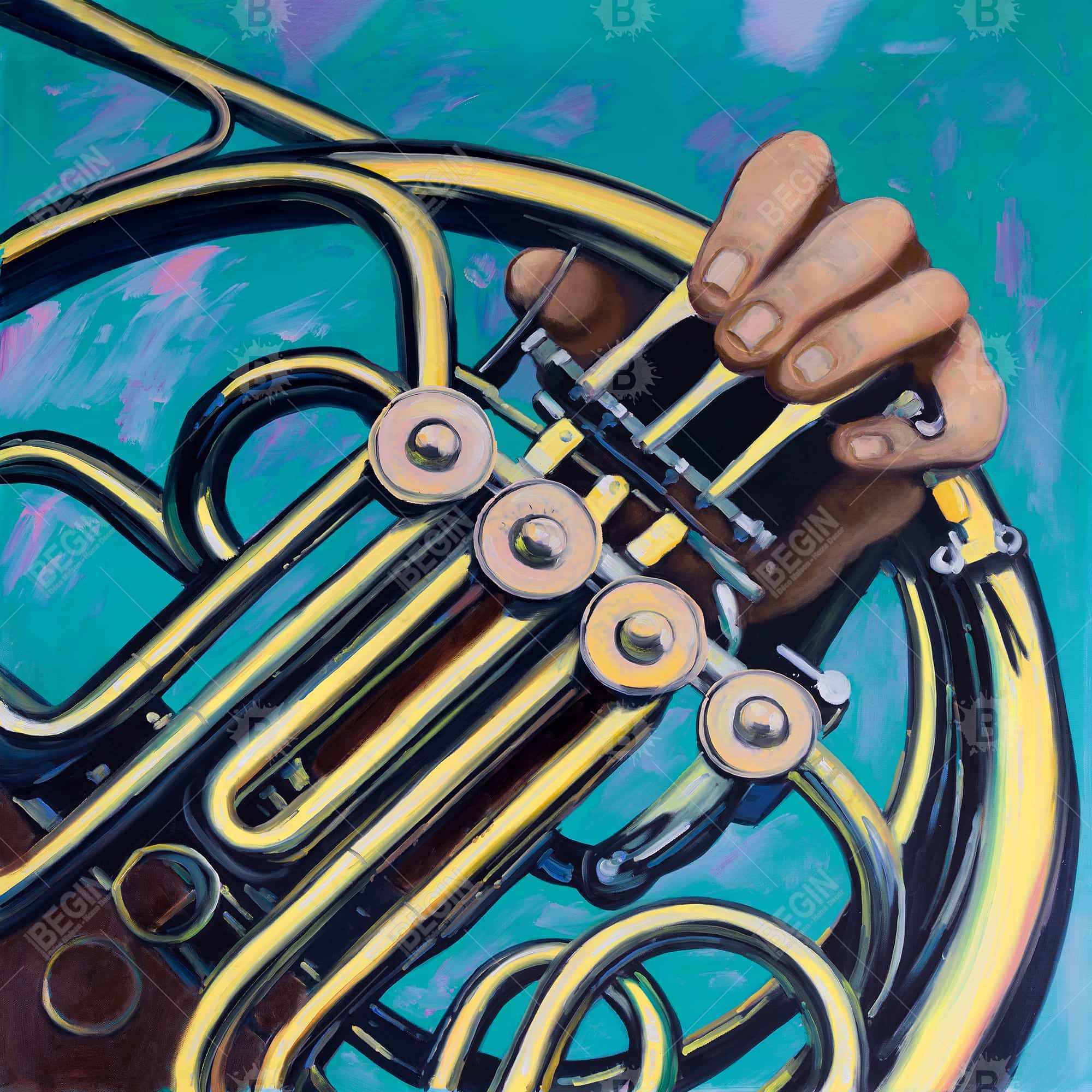 Musicien avec cor français