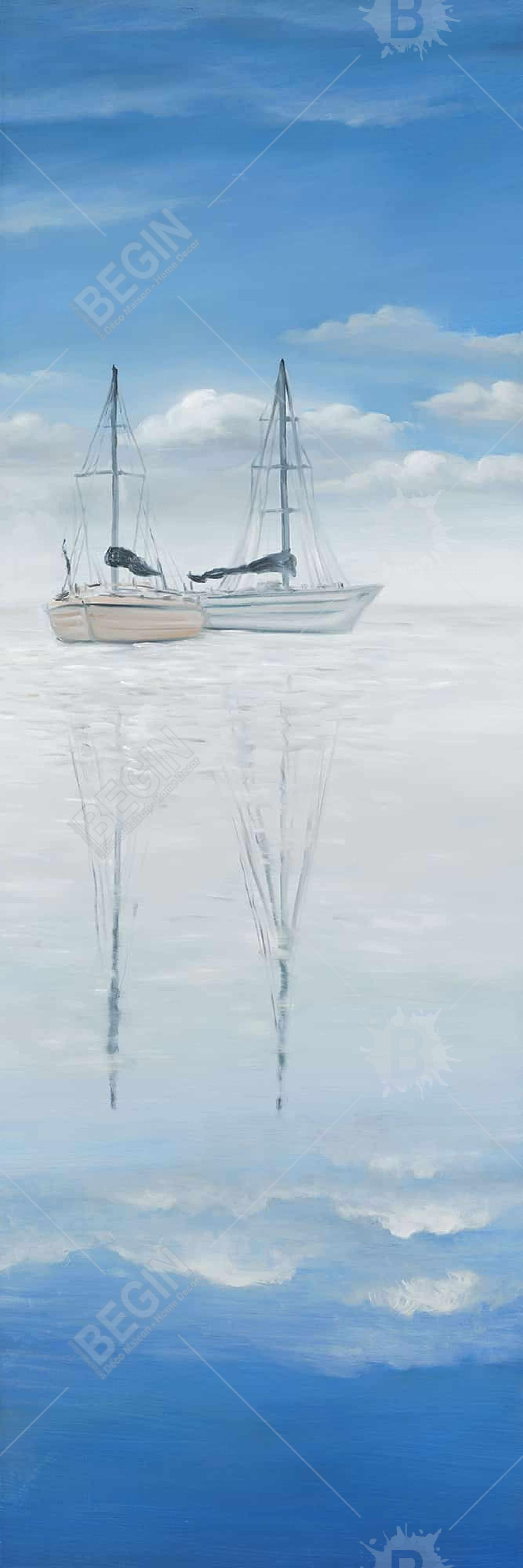 Two sailboats on the quiet lake