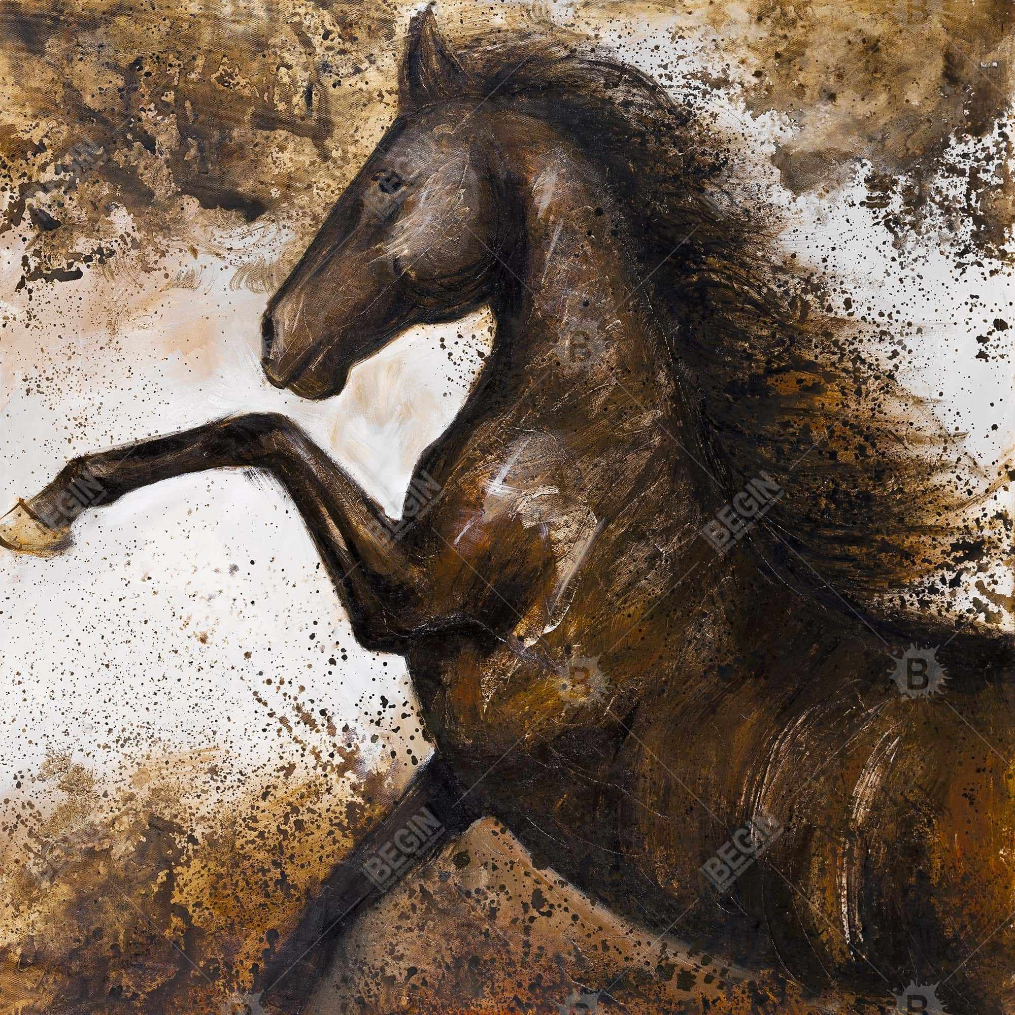 Horse rushing into the soil