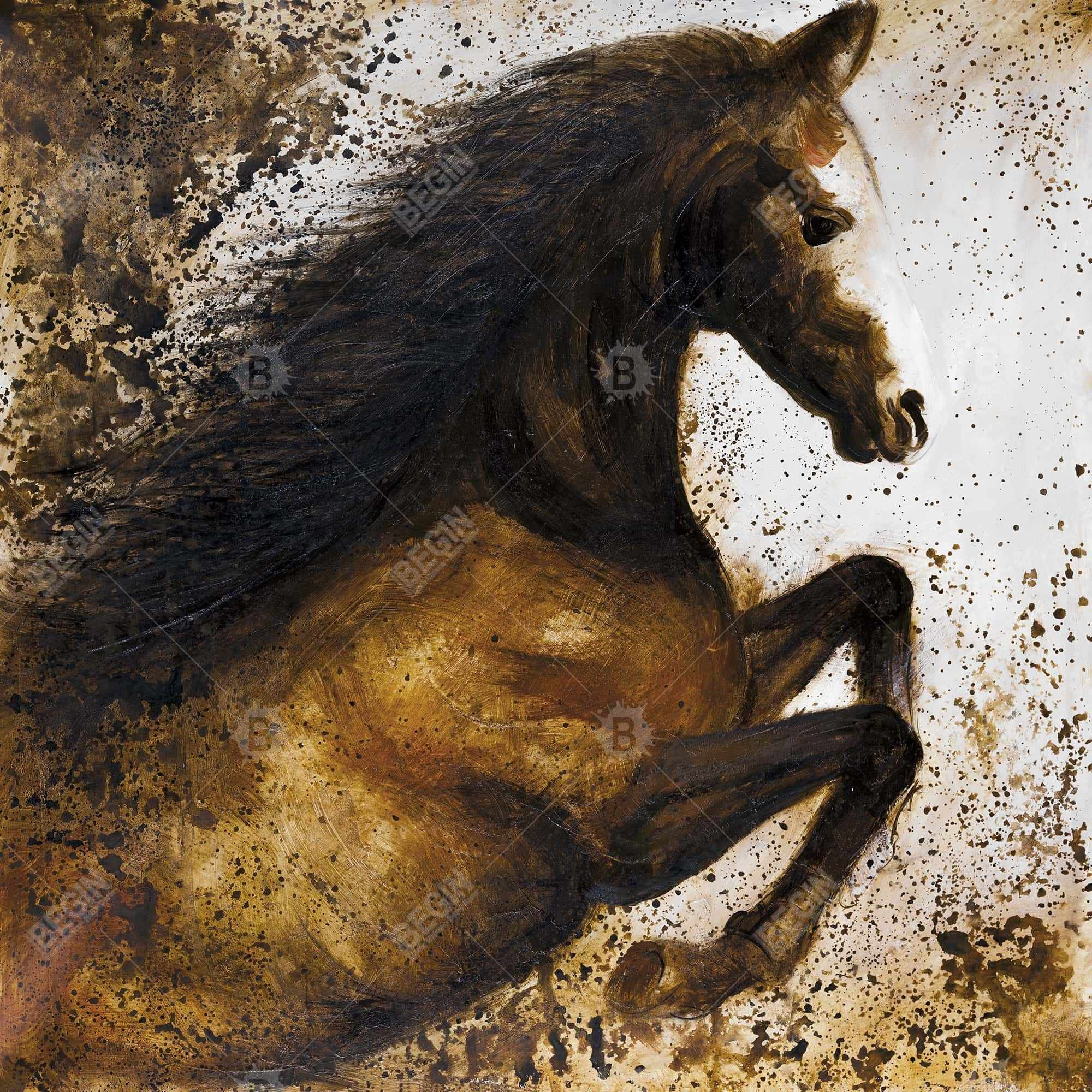 Horse rushing into the dust