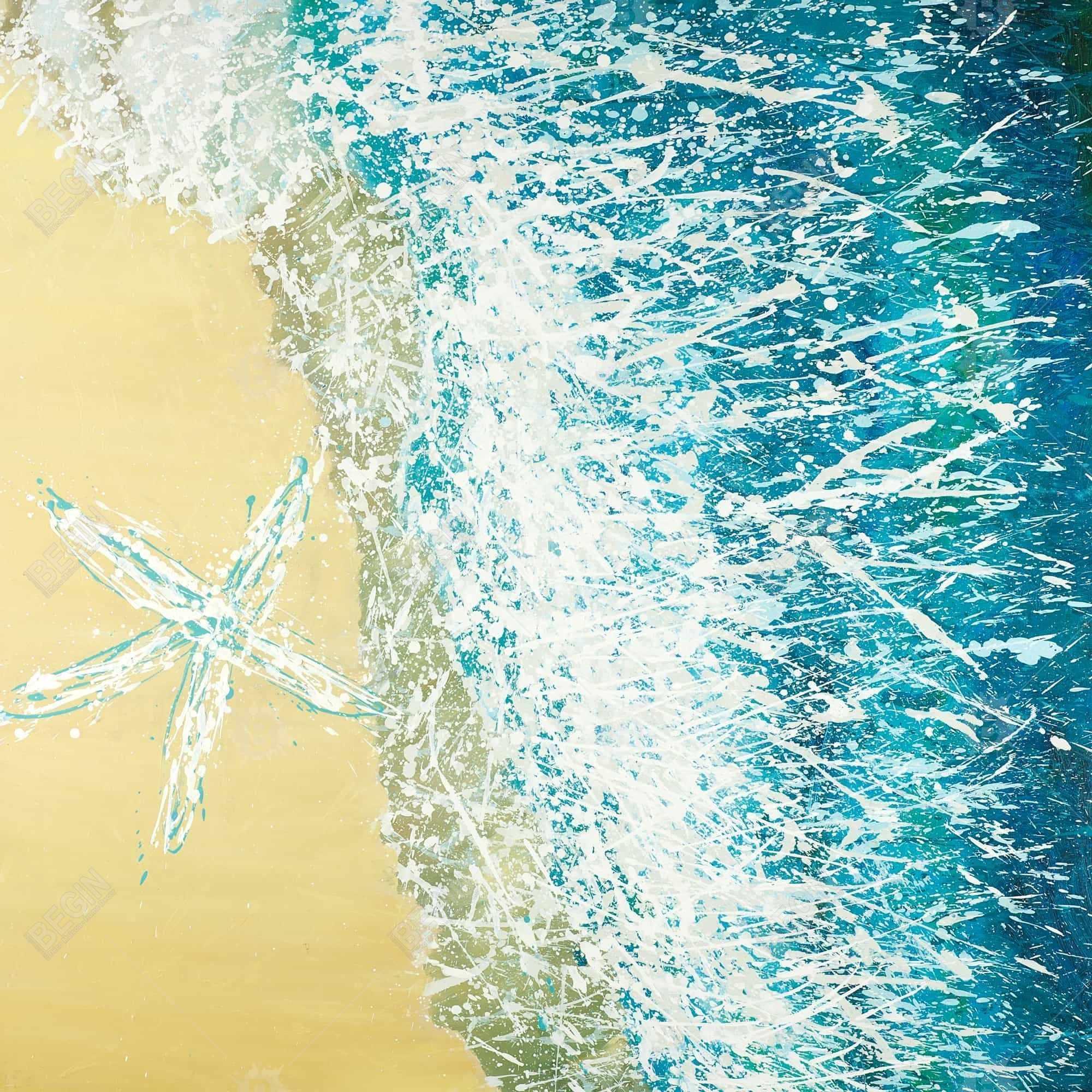 étoile de mer sur la gauche d'une vague