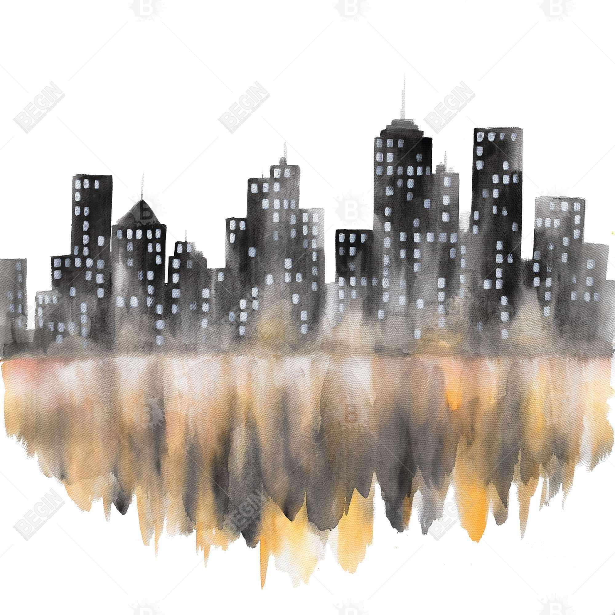 Yellow watercolor cityscape