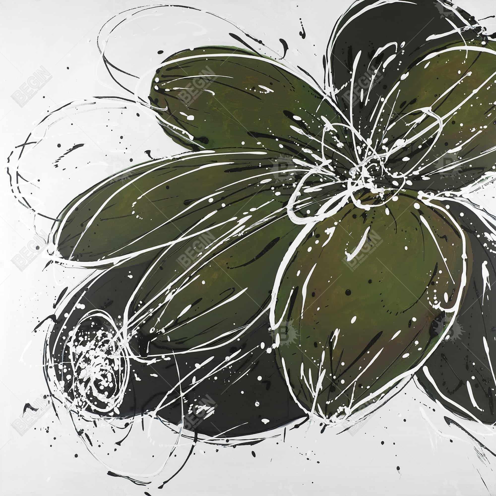 Fleur verte avec contours en éclats de peinture