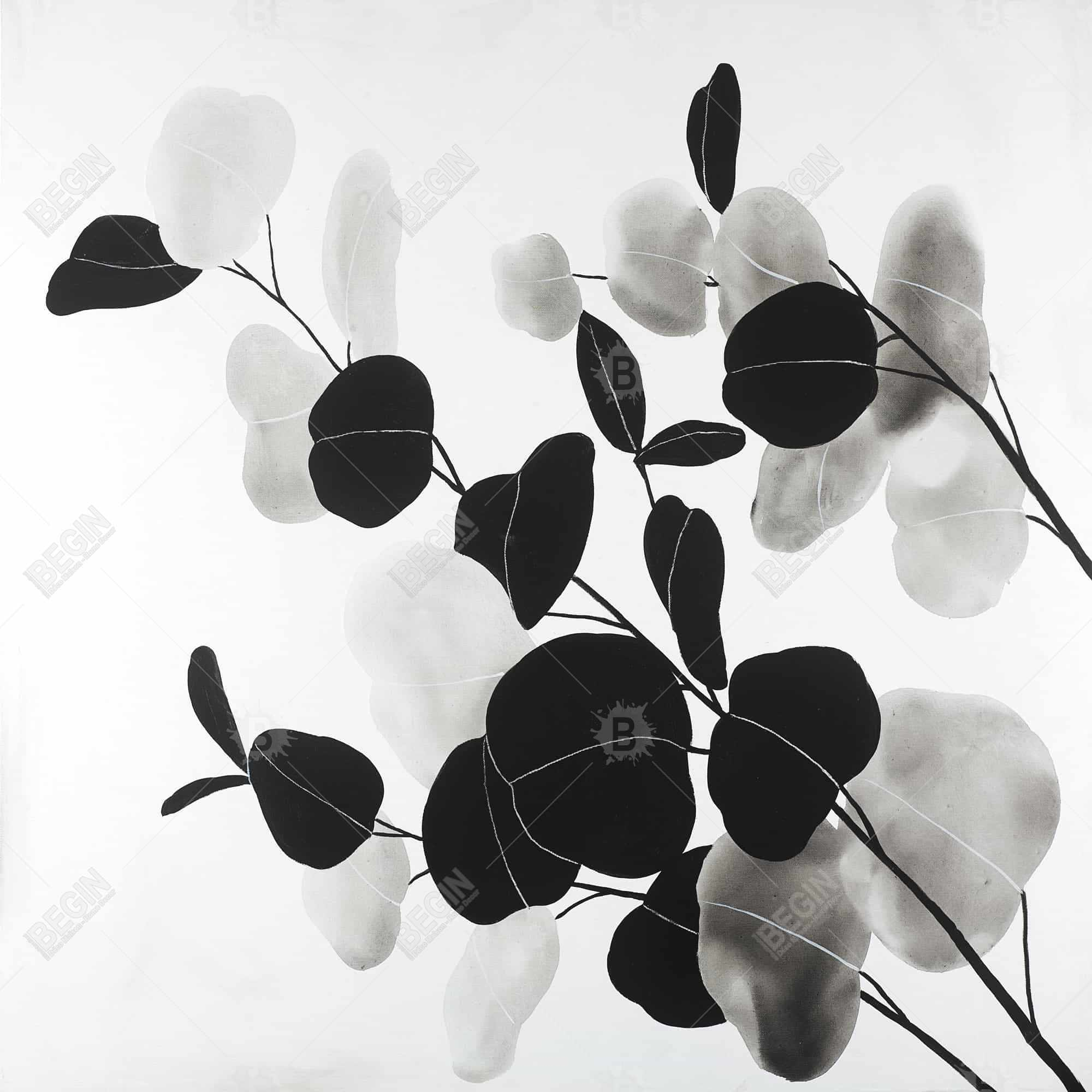 Grayscale branches with leaves