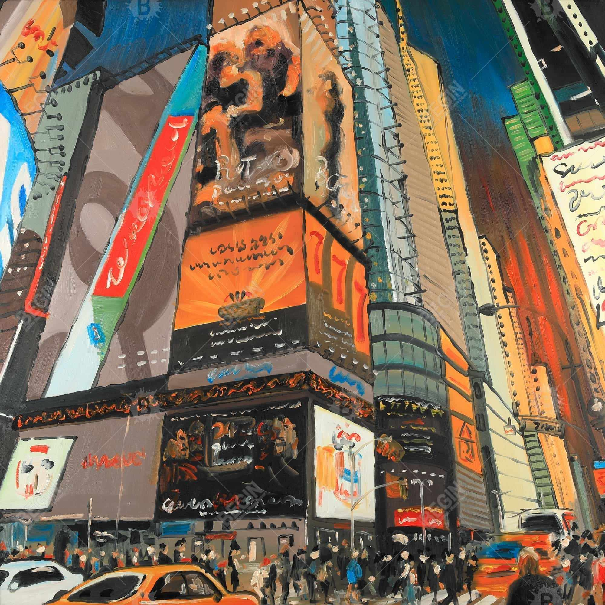 Illuminated new york city street