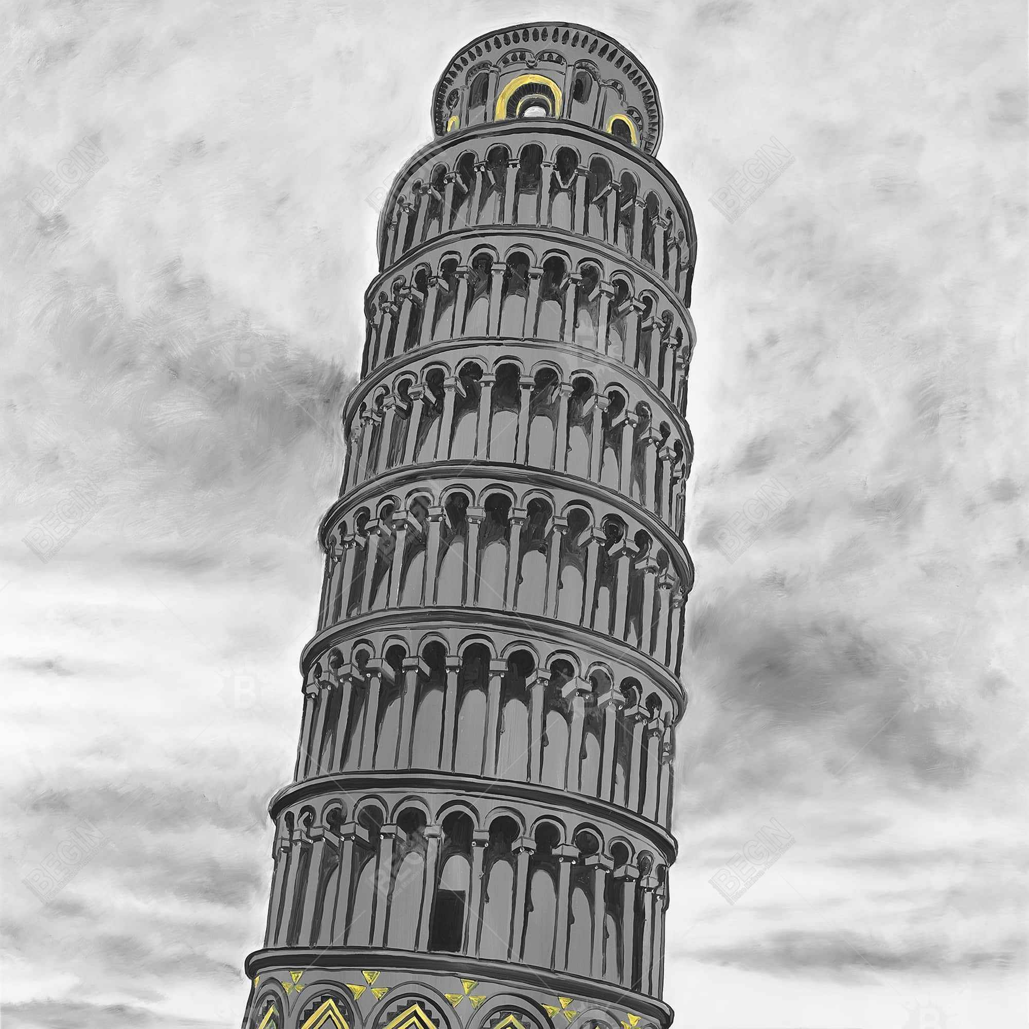 Outline of tower of pisa in italy
