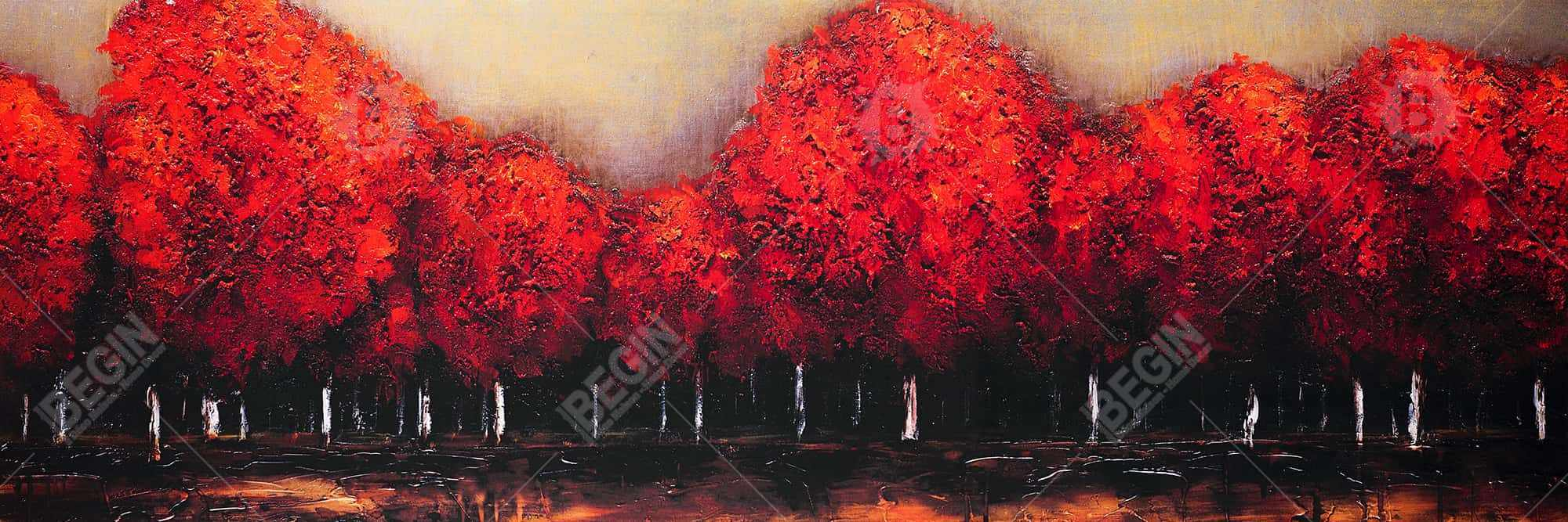 Red trees by a dark day