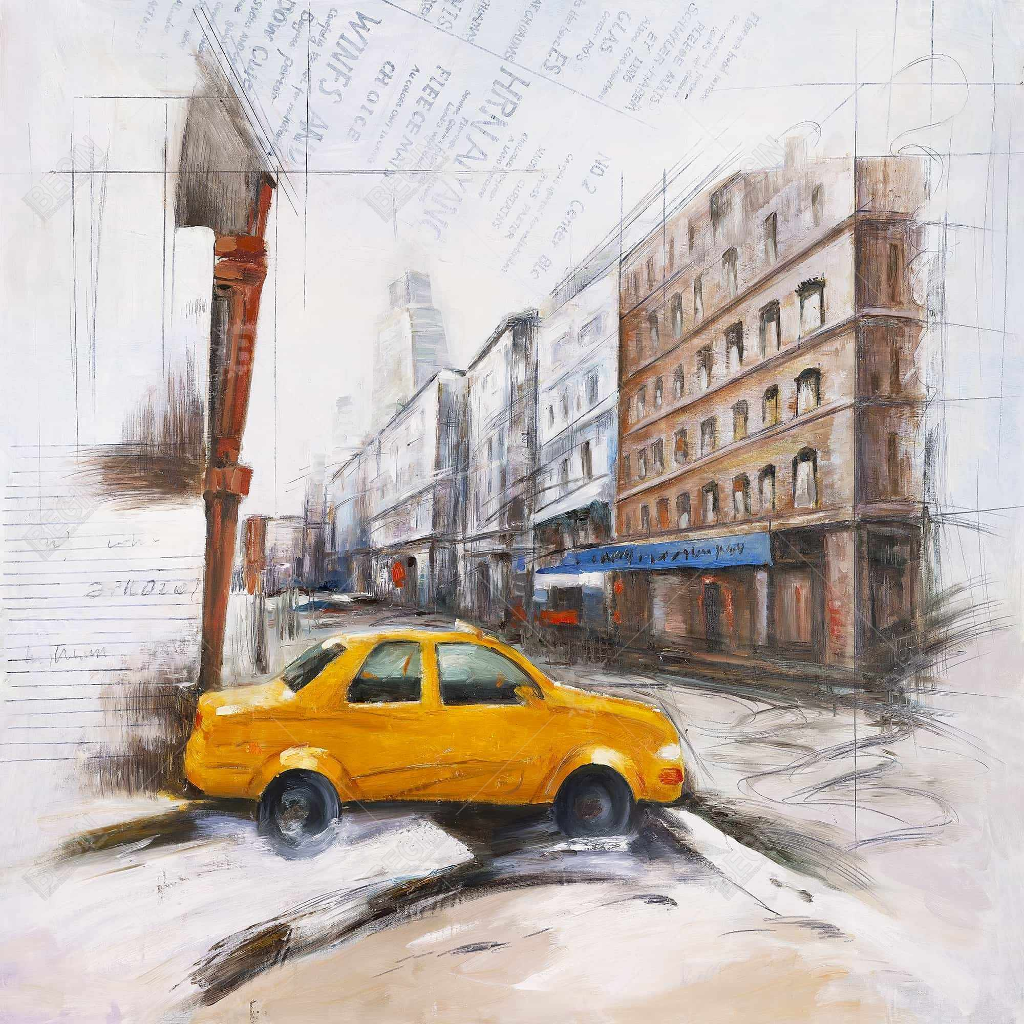 Taxi in the street sketch