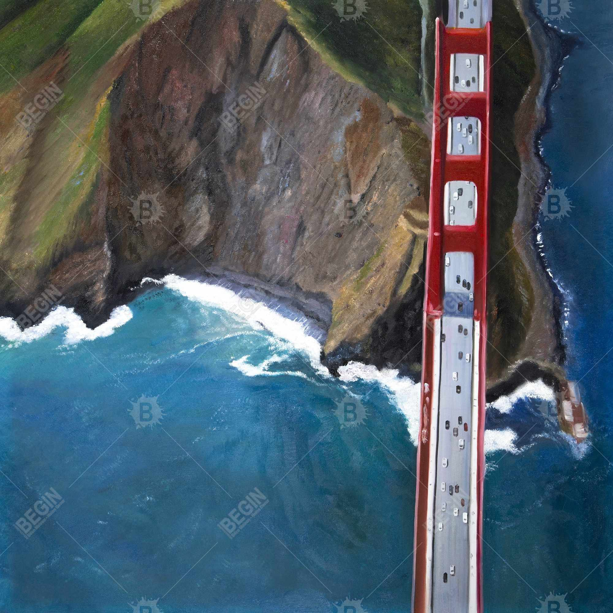Overhead view of the golden gate and mountains