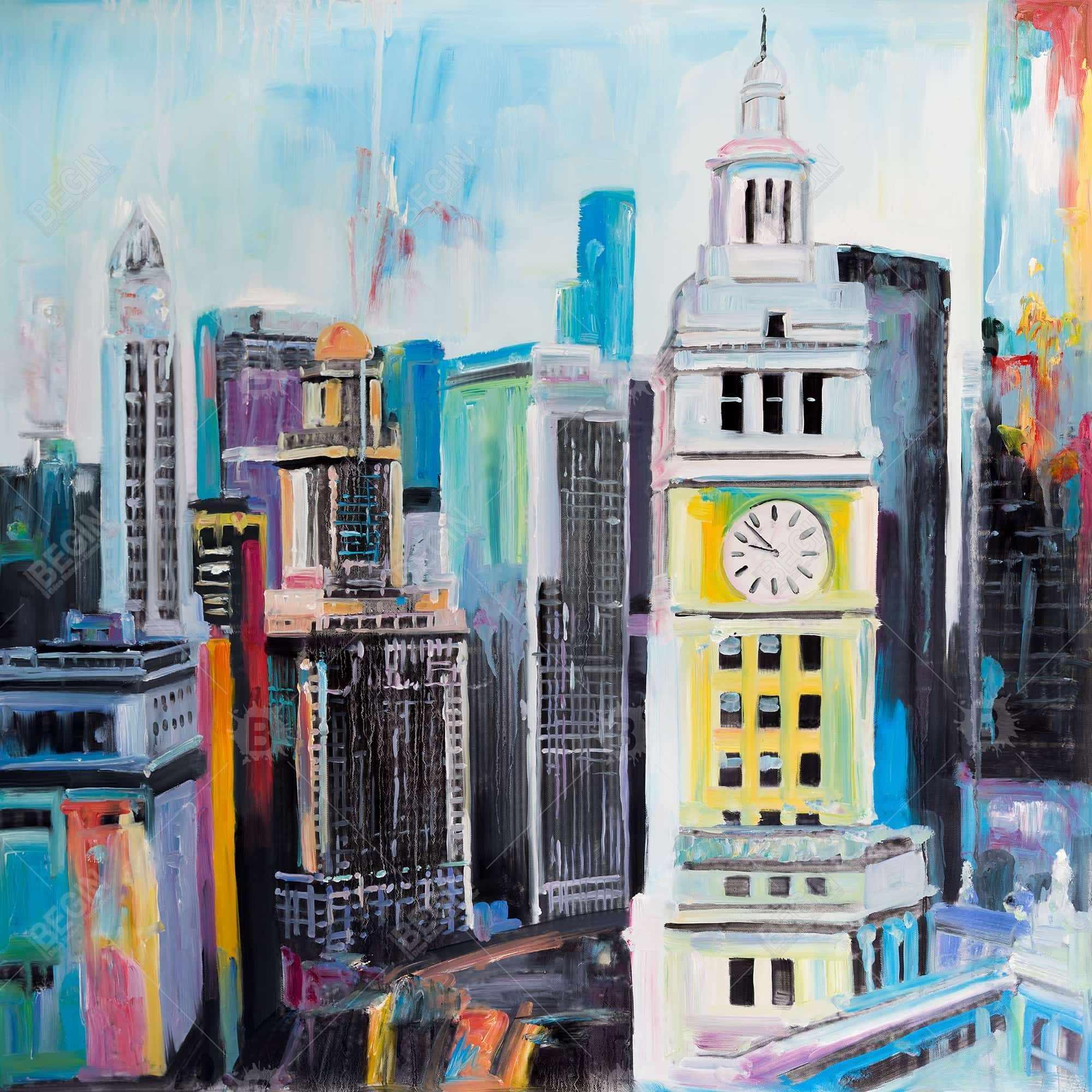 Colorful cityscape of manhattan