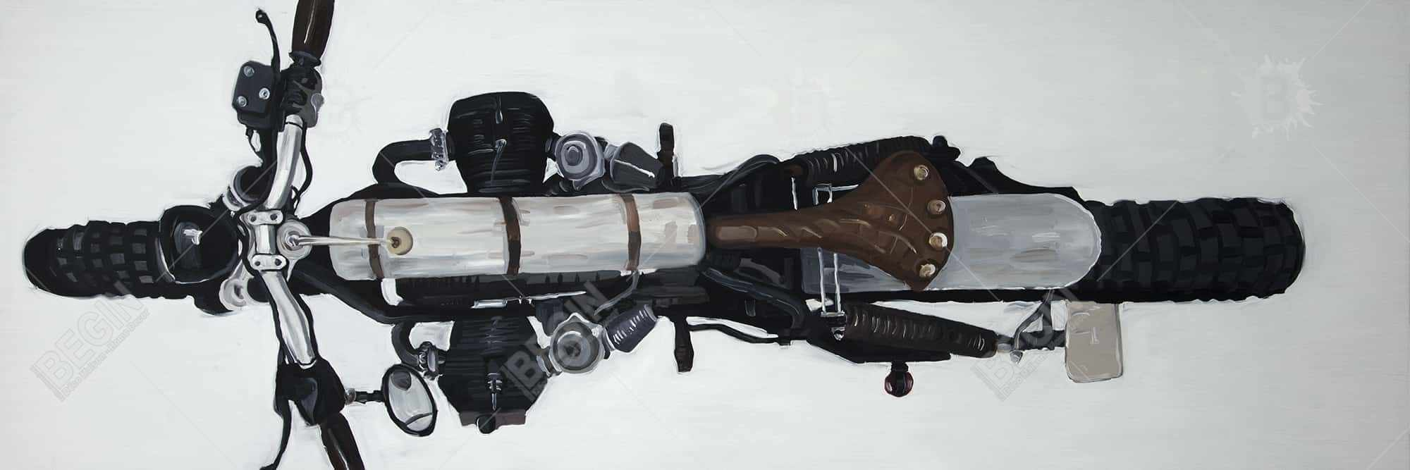 Overhead view of a motorcycle
