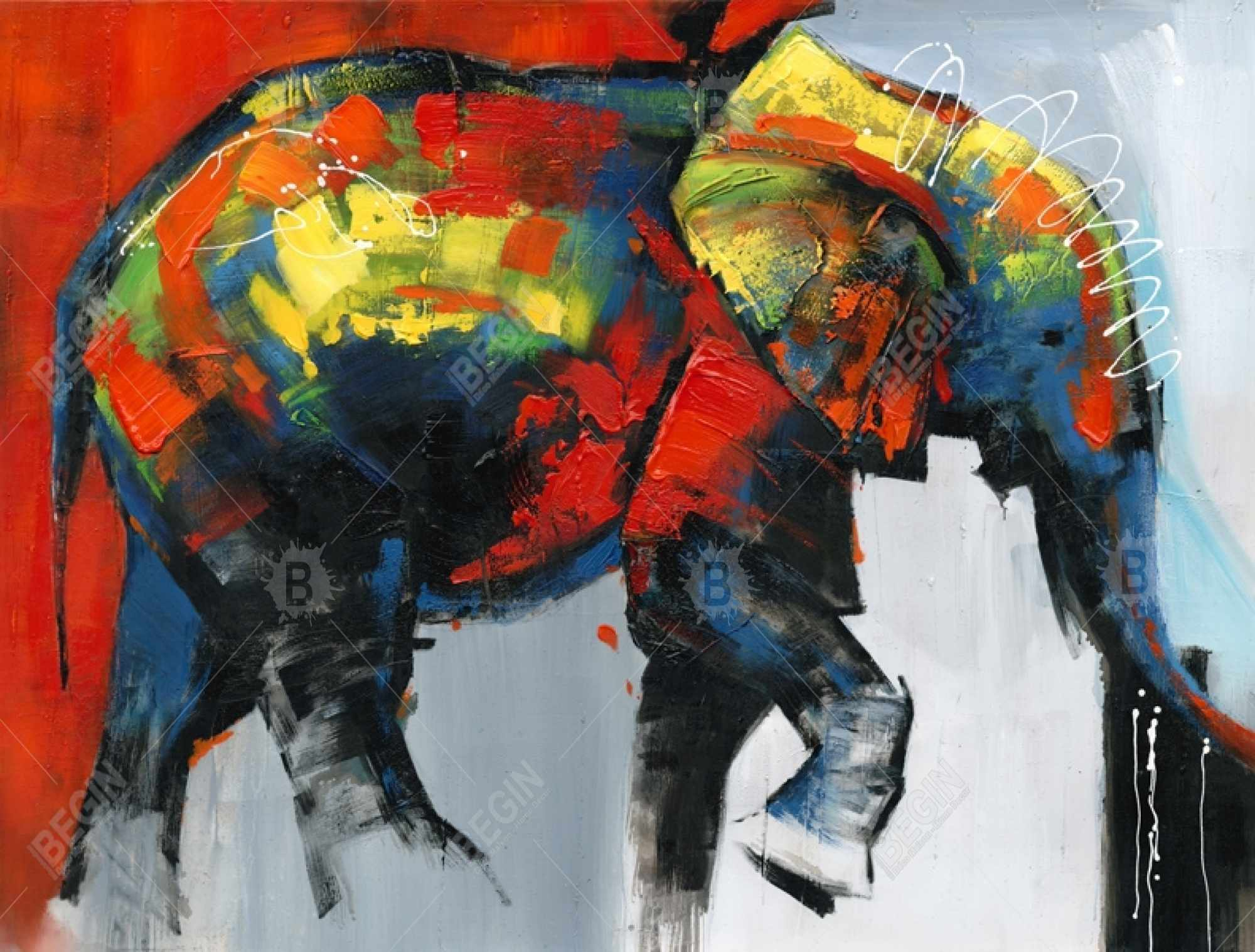 Abstract and colorful elephant in motion
