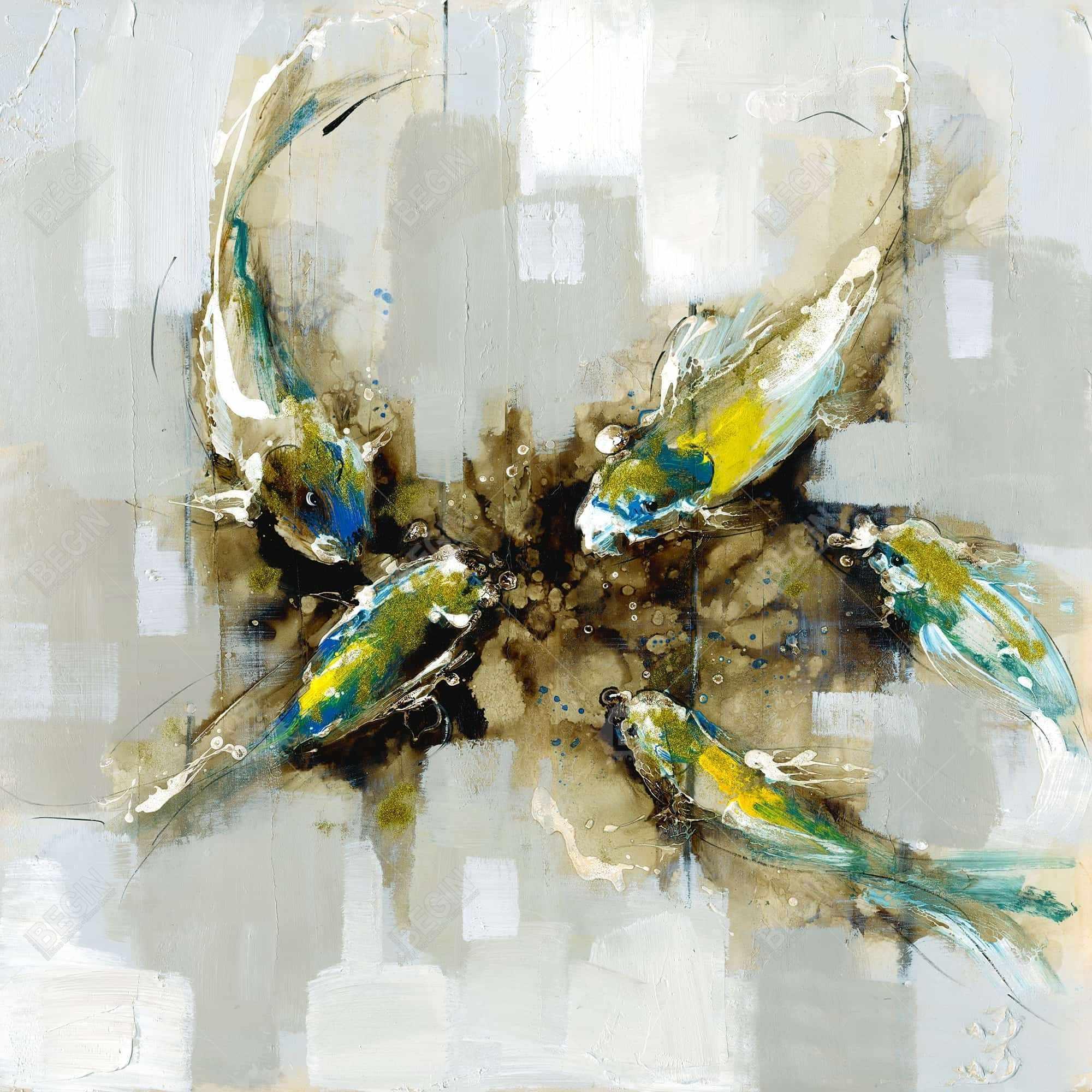 Quatre poissons koi abstraits