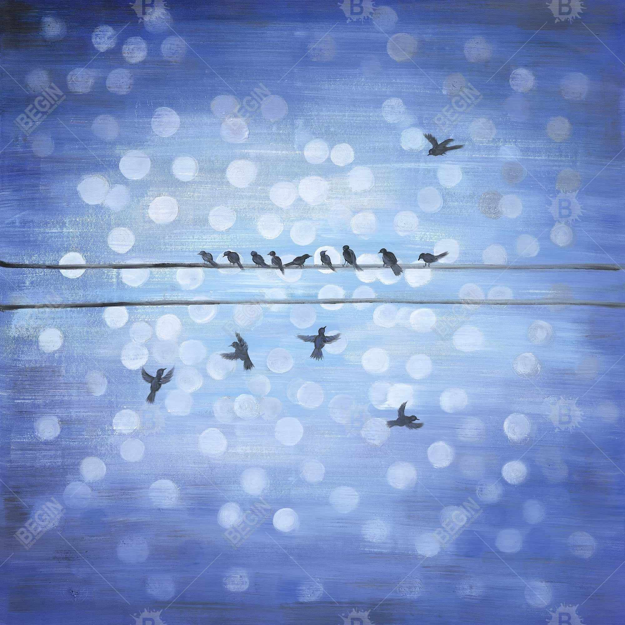 Birds on a wire with a clear blue sky
