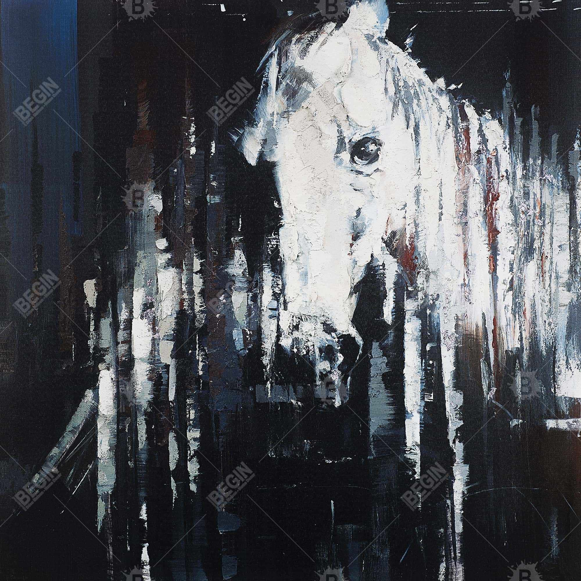 Abstract horse on black background