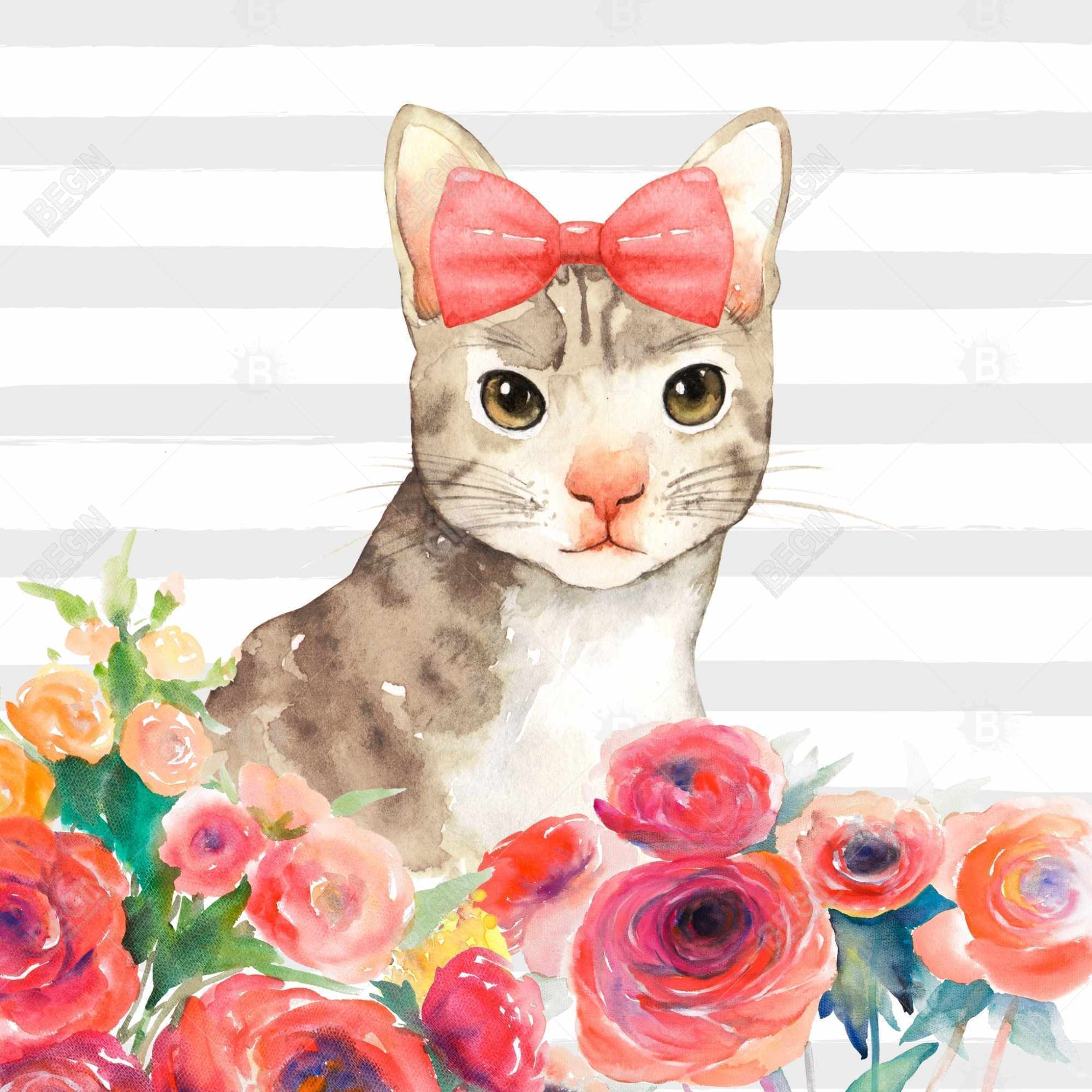 Small cat with flowers
