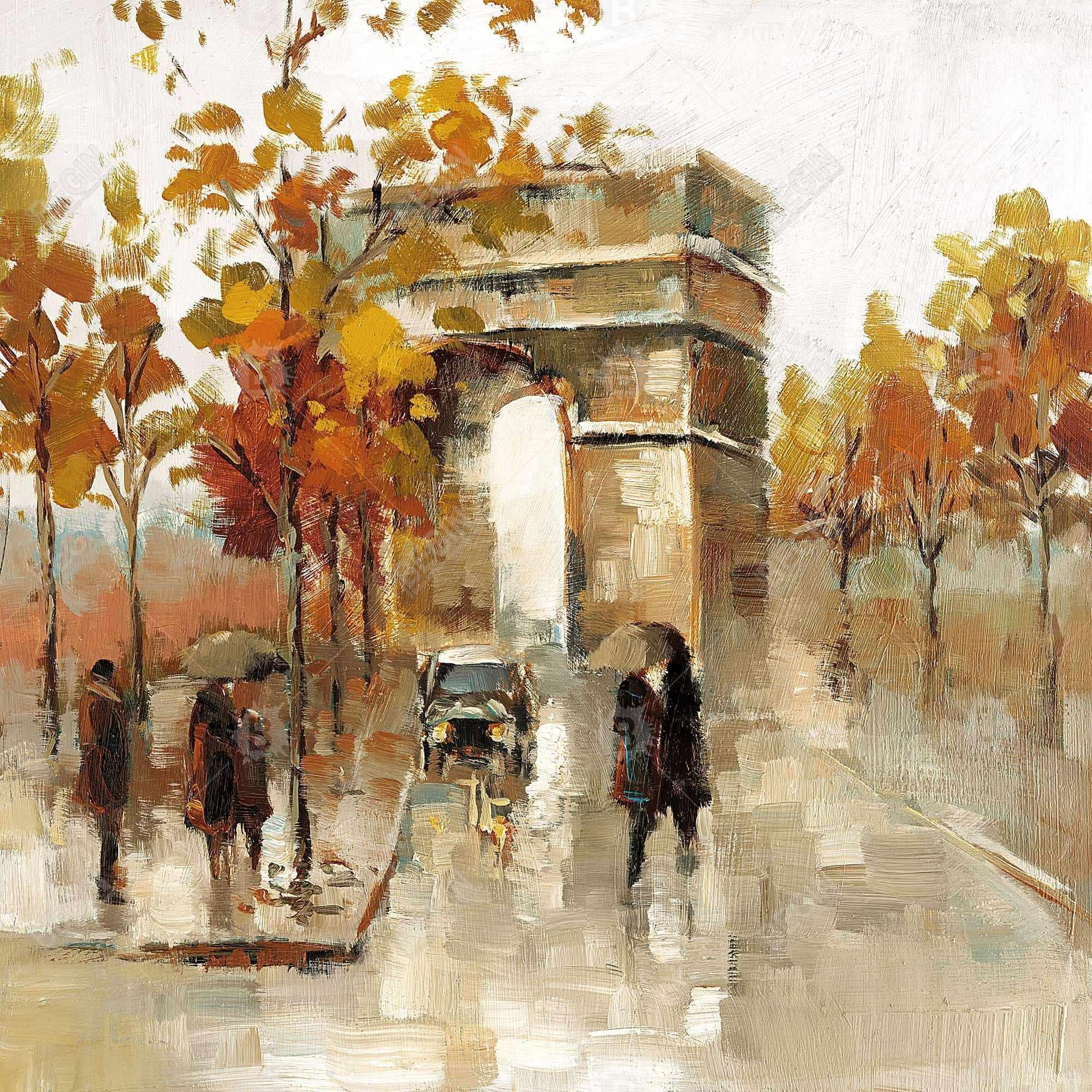 Arc de triomphe in autumn