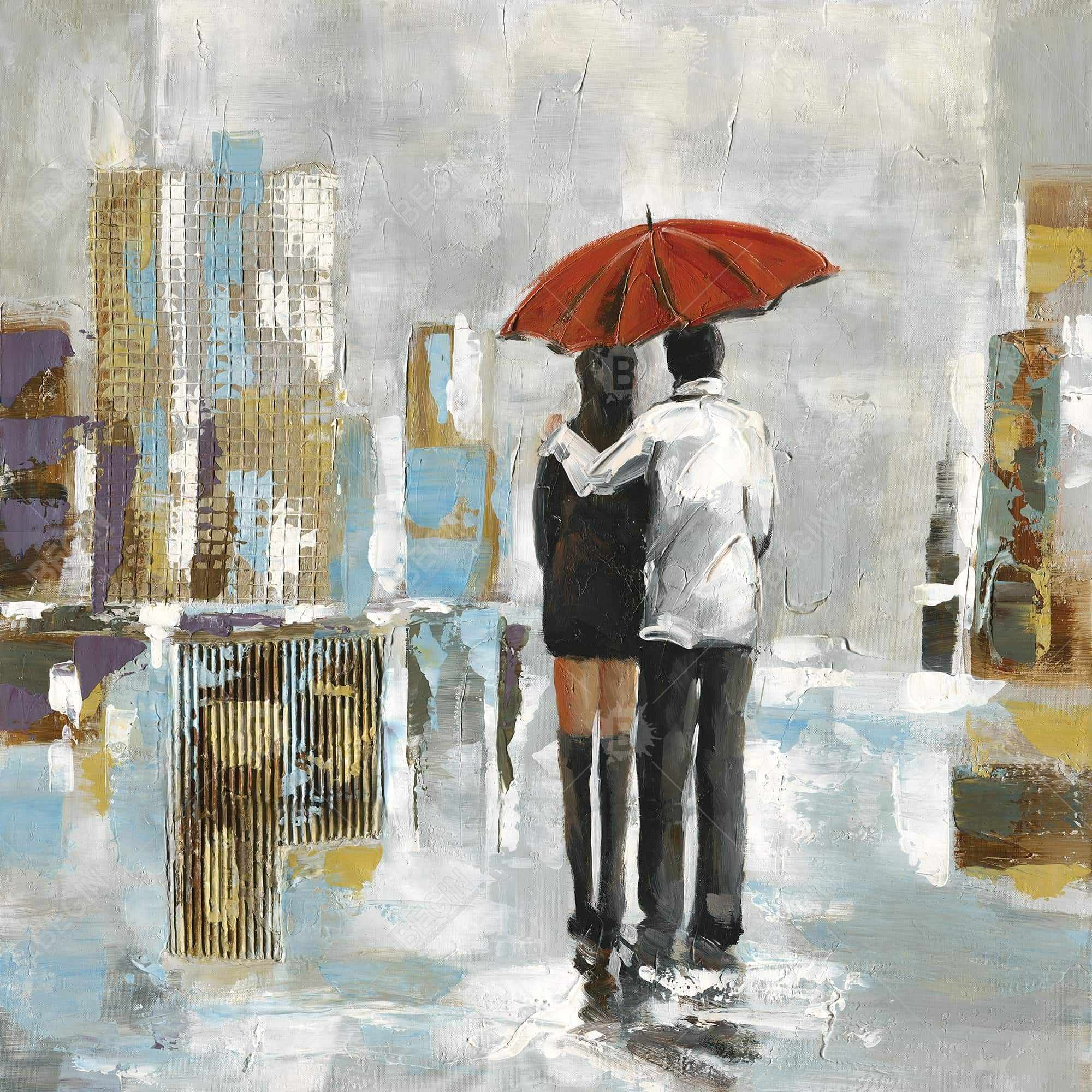 Couple walking under their umbrella