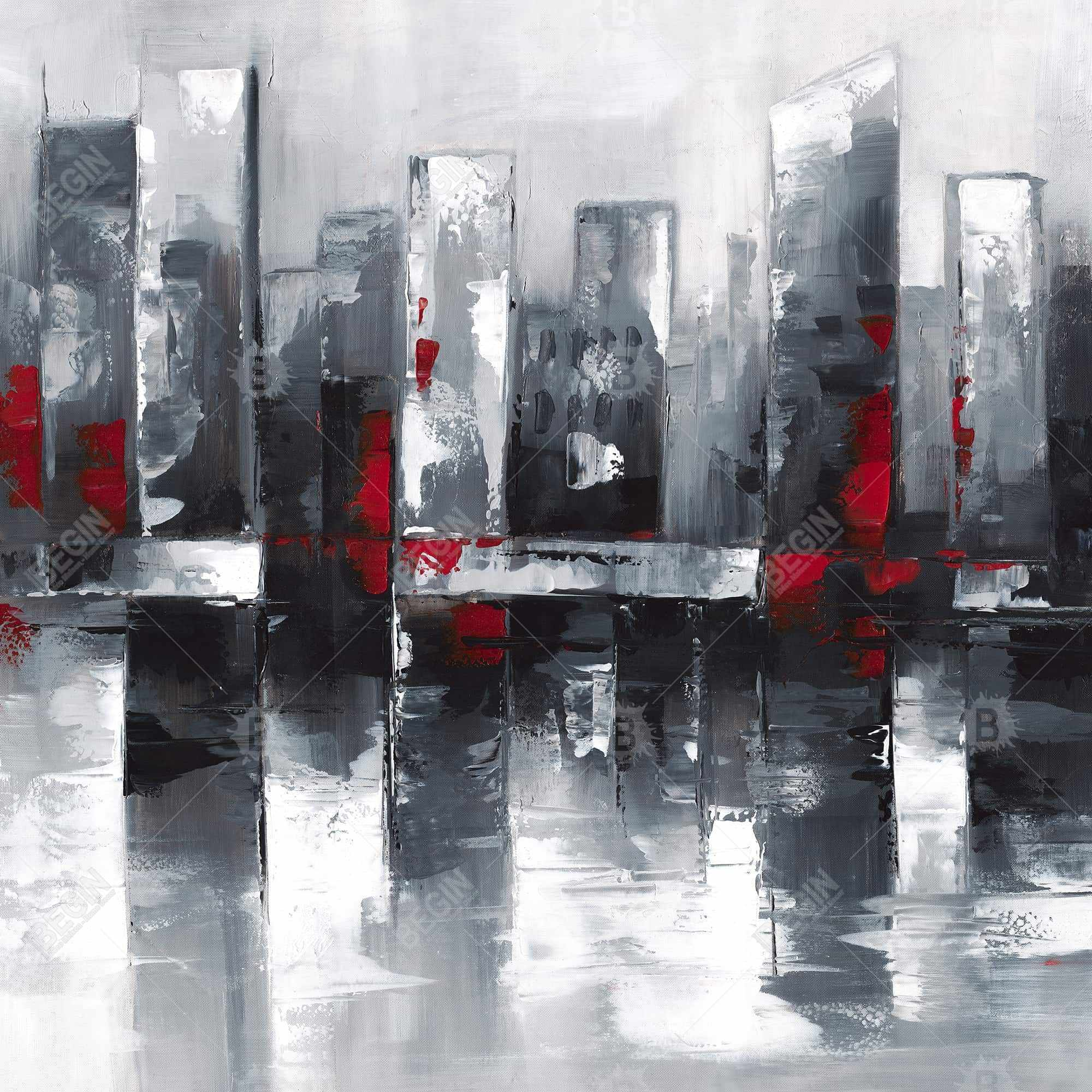 Abstract cityscape with reflection on water