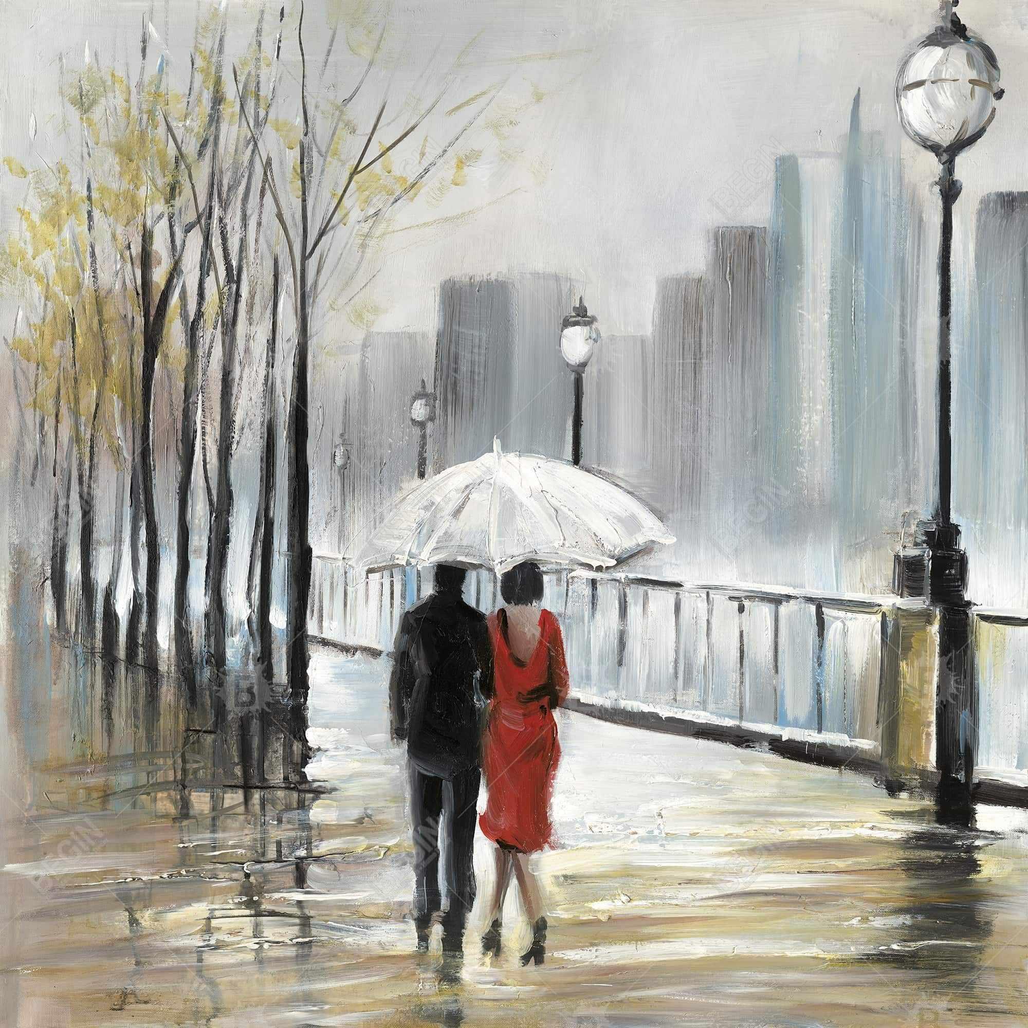 Couple walking under the rain