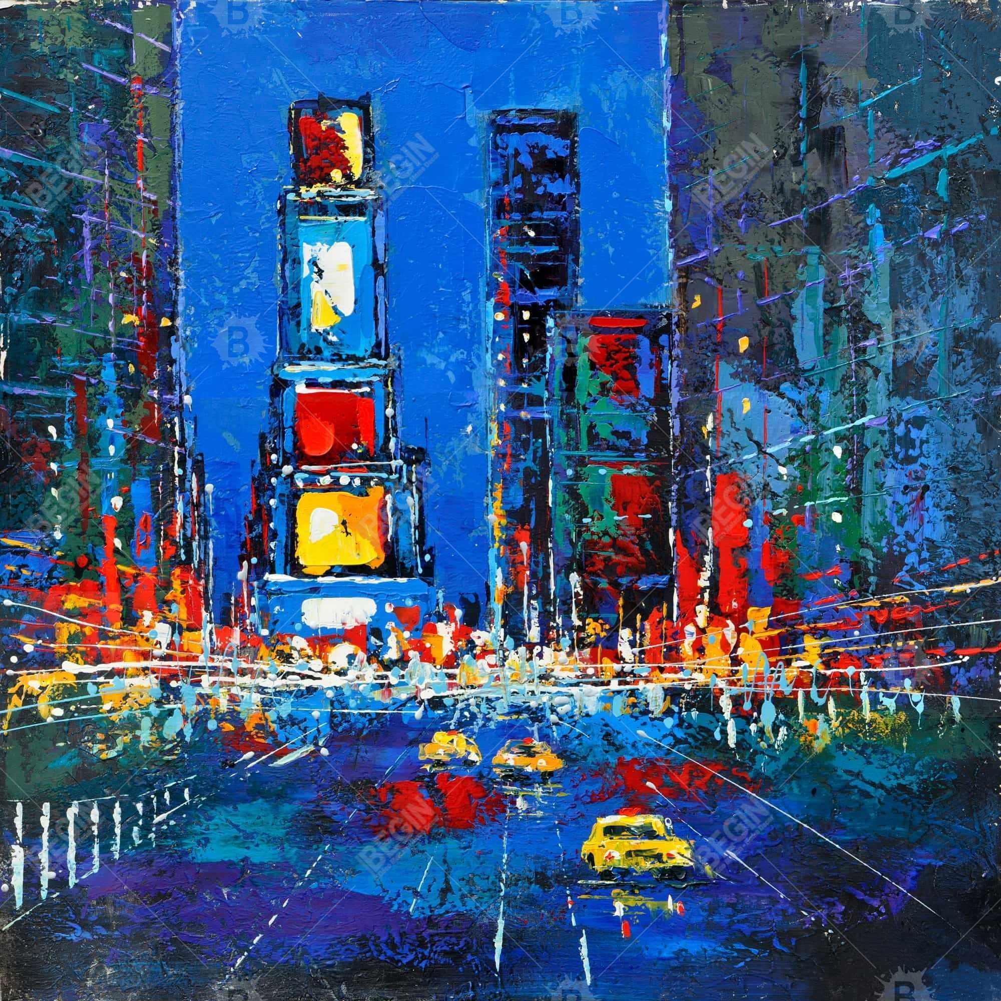 Times square abstraits et colorés de nuit