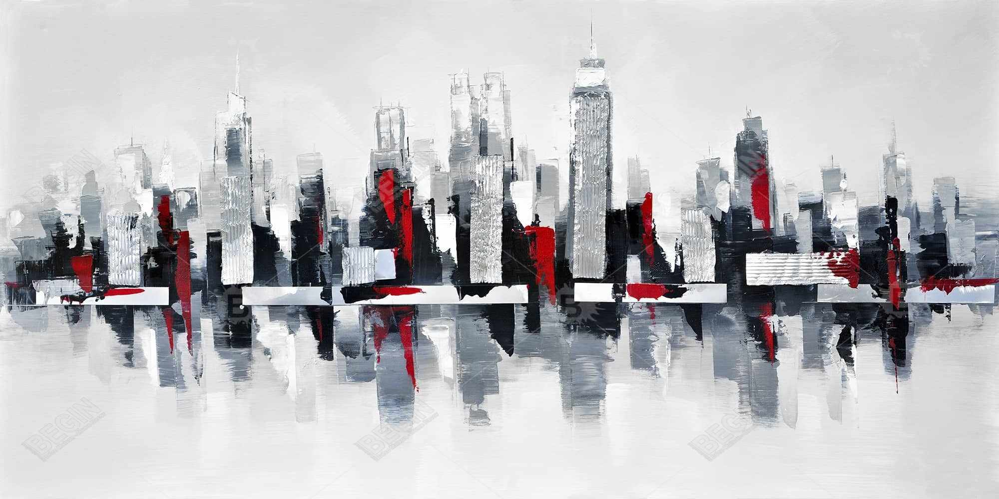 Gray and red floating cityscape