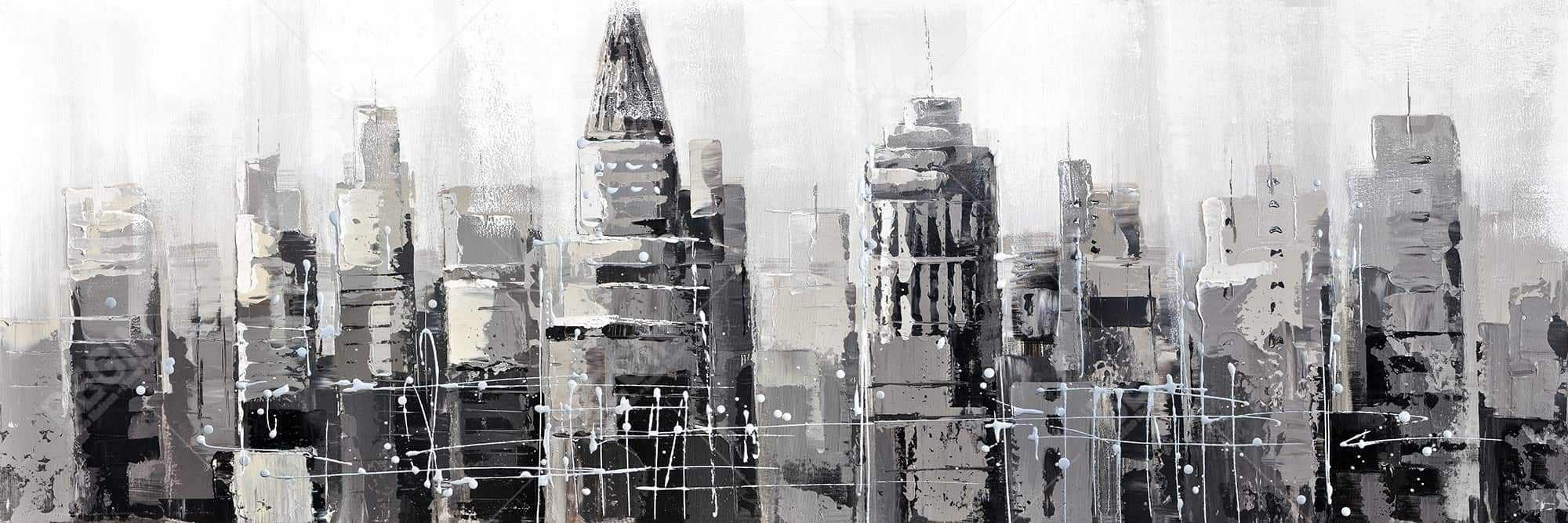 Gray city with splash painting