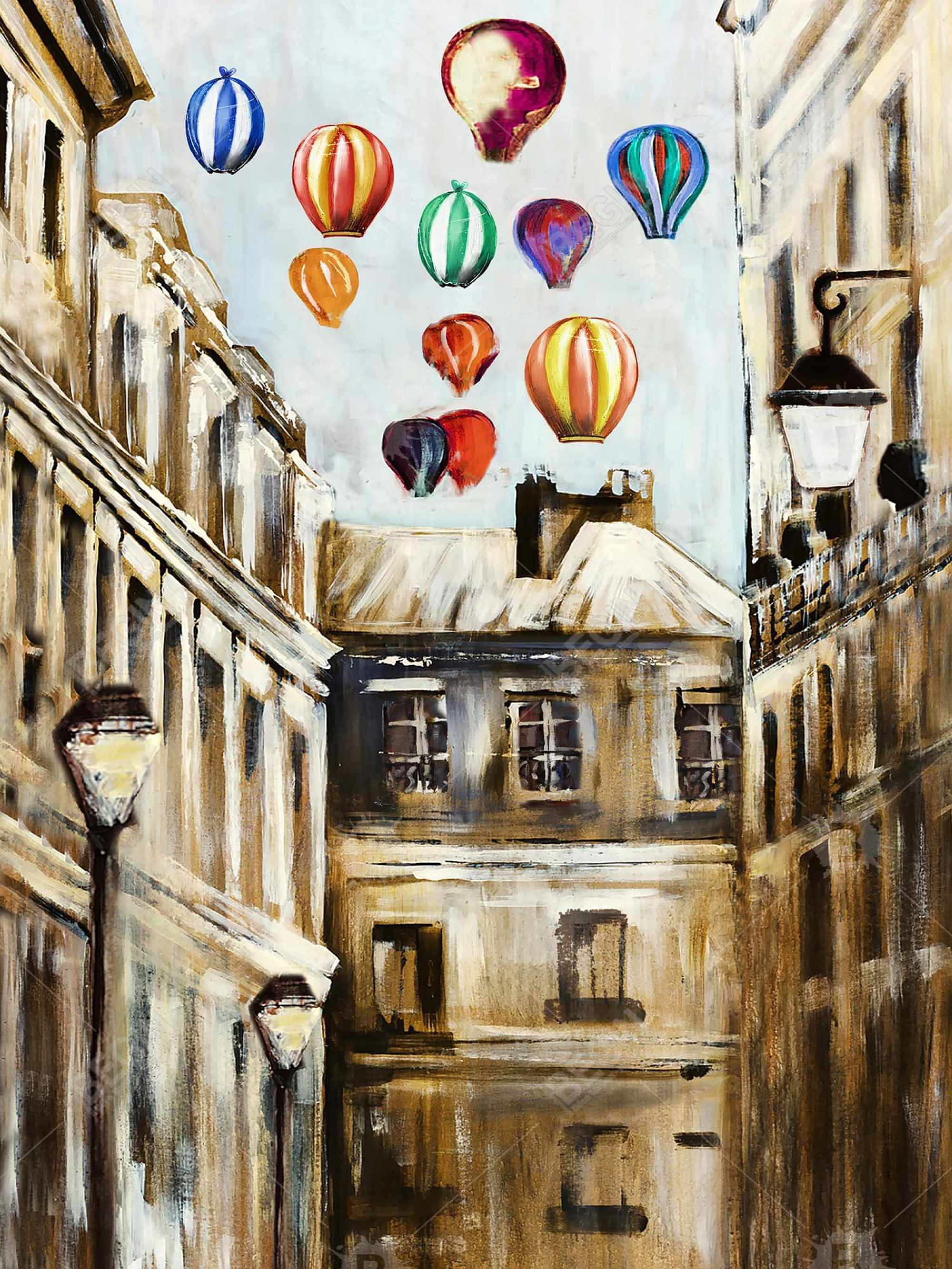 Gloomy street with colorful hot-air balloons