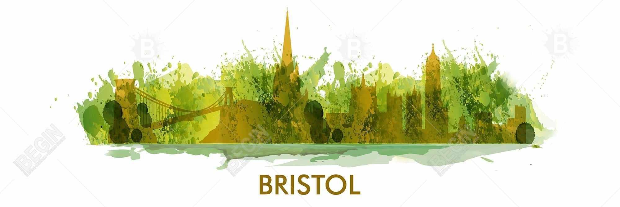 Paint splash silhouette of bristol