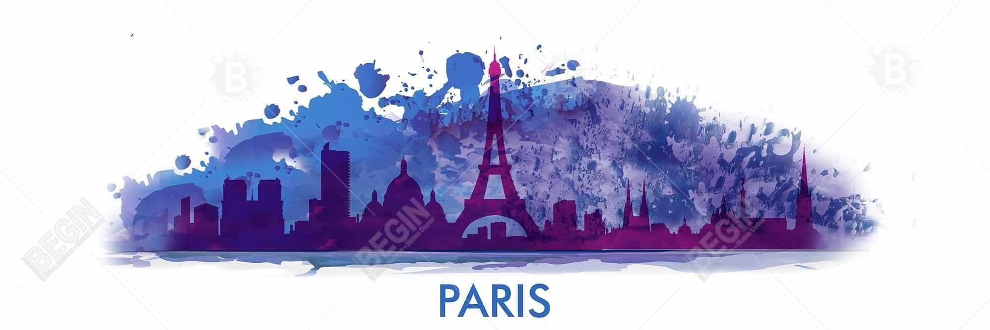 Paint splash silhouette of paris
