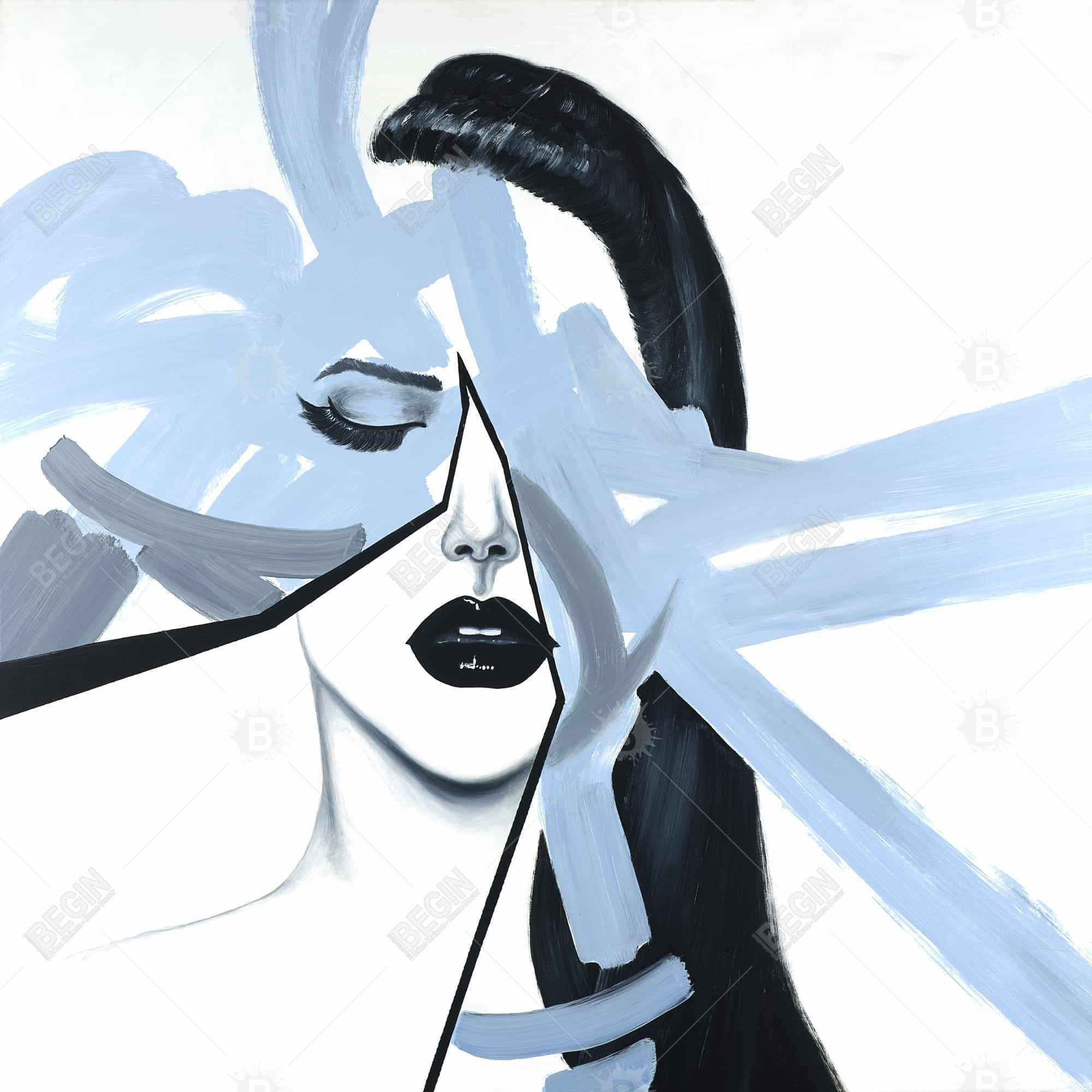Abstract blue woman portrait