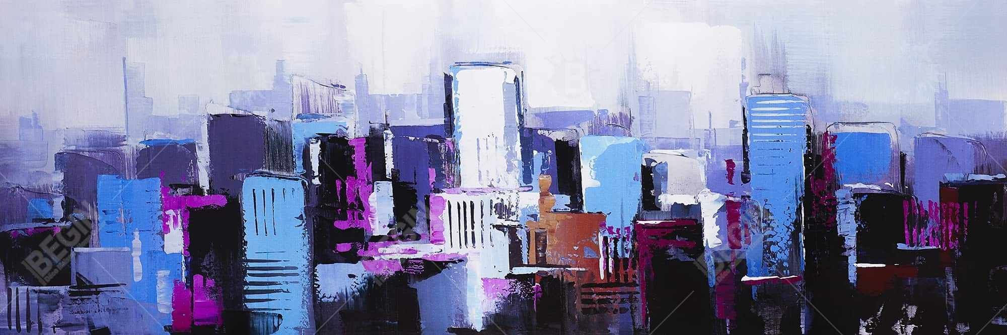 Abstract blue & purple city
