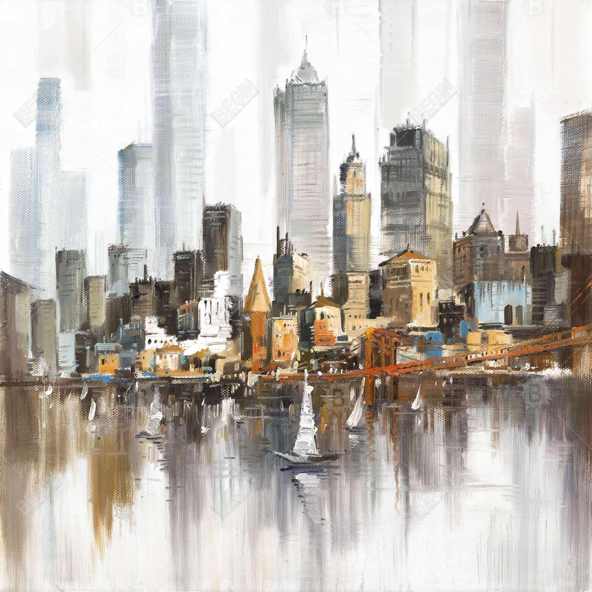 Urban landscape and its sailboats
