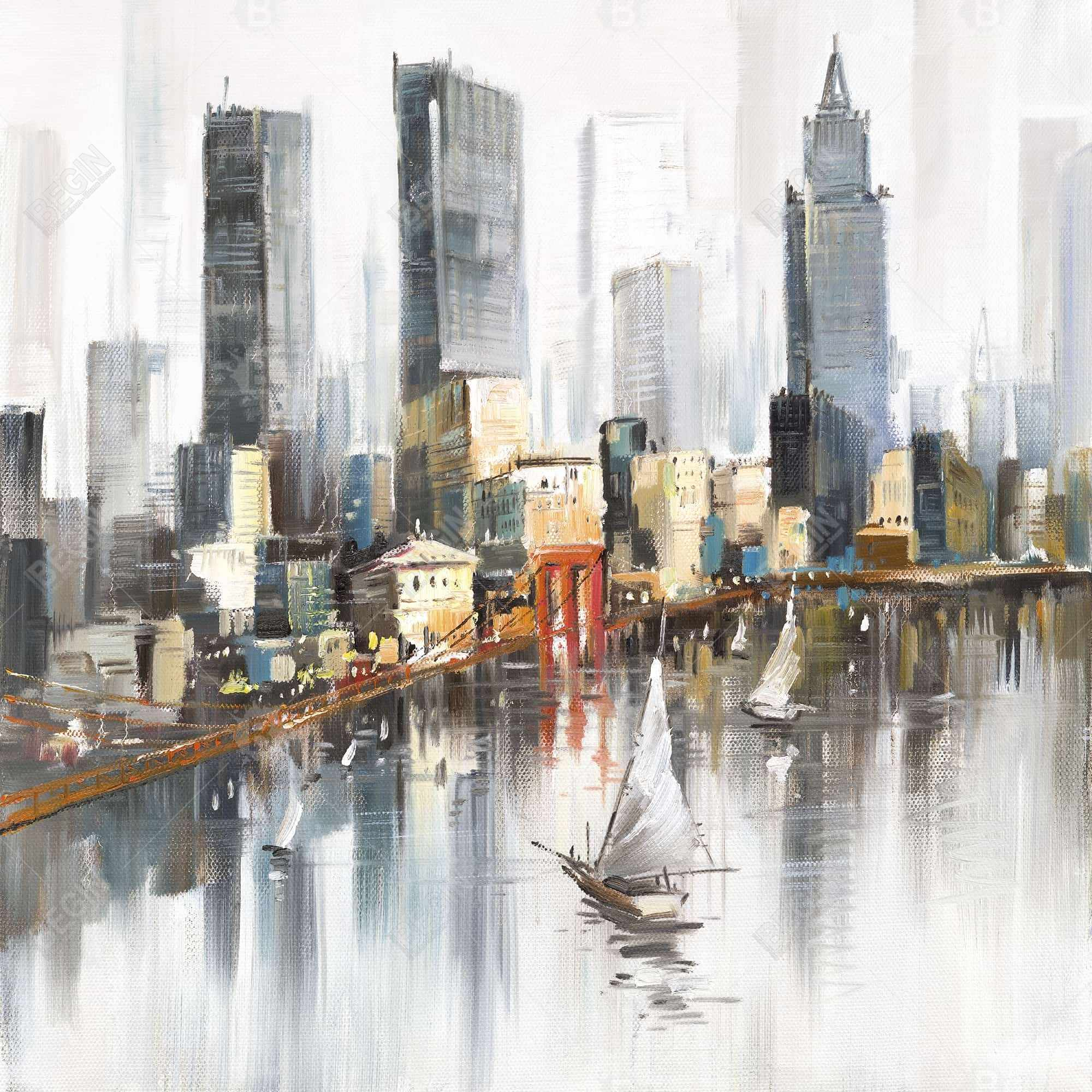 Watercolor style city with boats