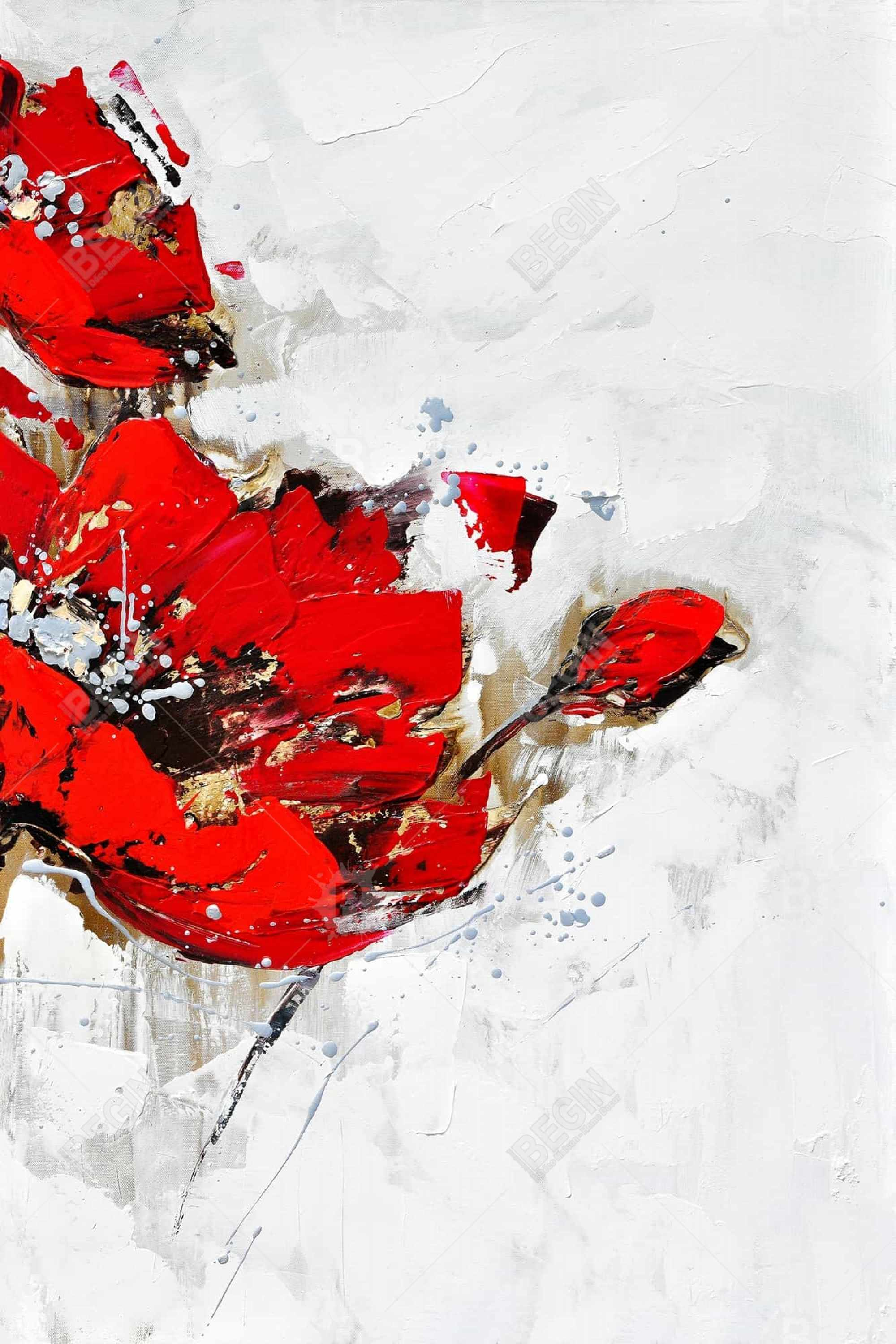 Abstract red flowers with texture