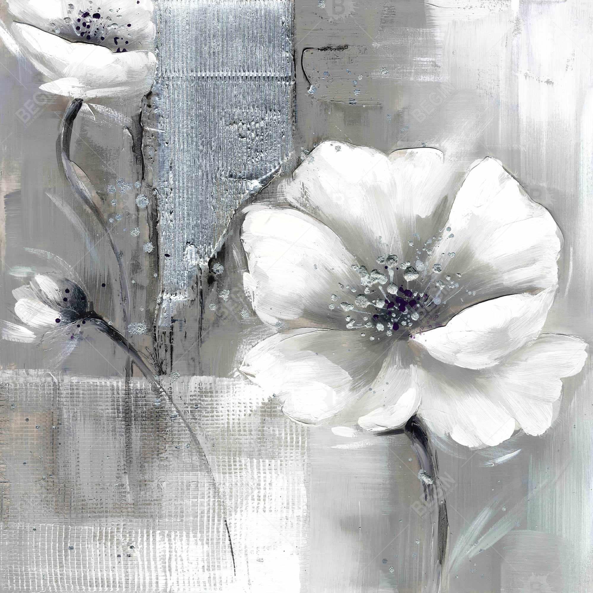Fleurs monochrome et argent