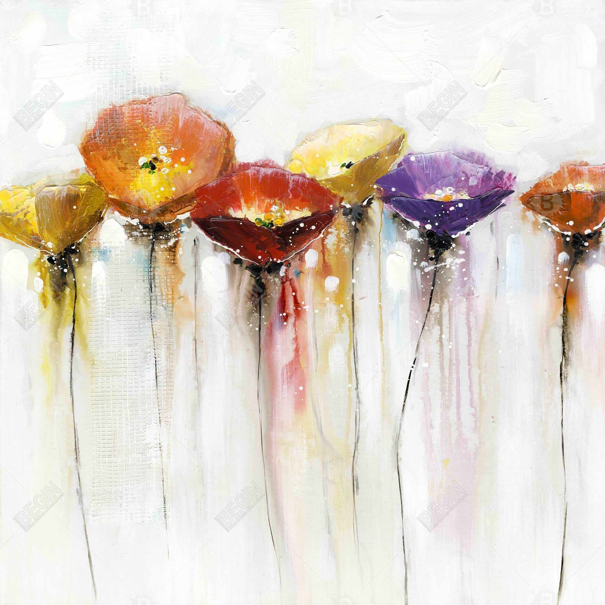Fleurs colorées et abstraites