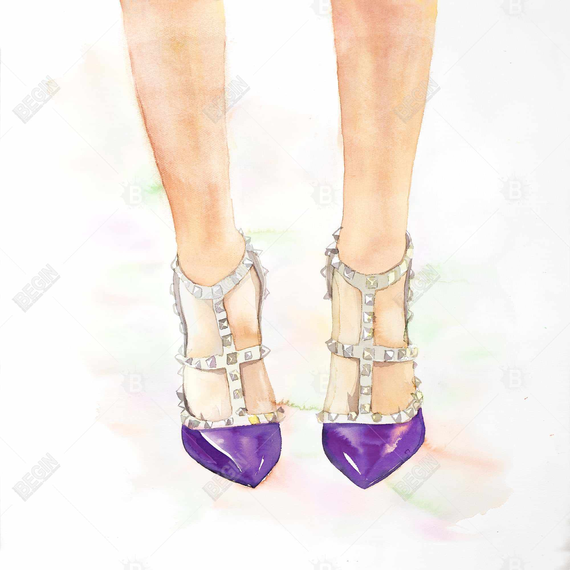 Purple studded high heels
