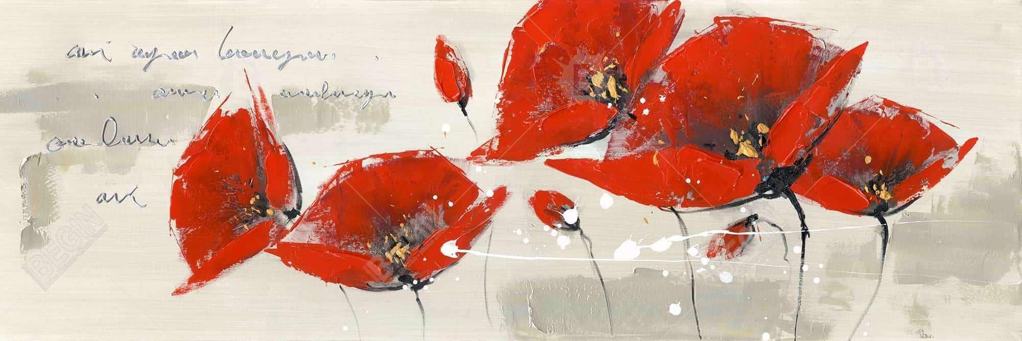 Fleurs rouges et message manuscrit