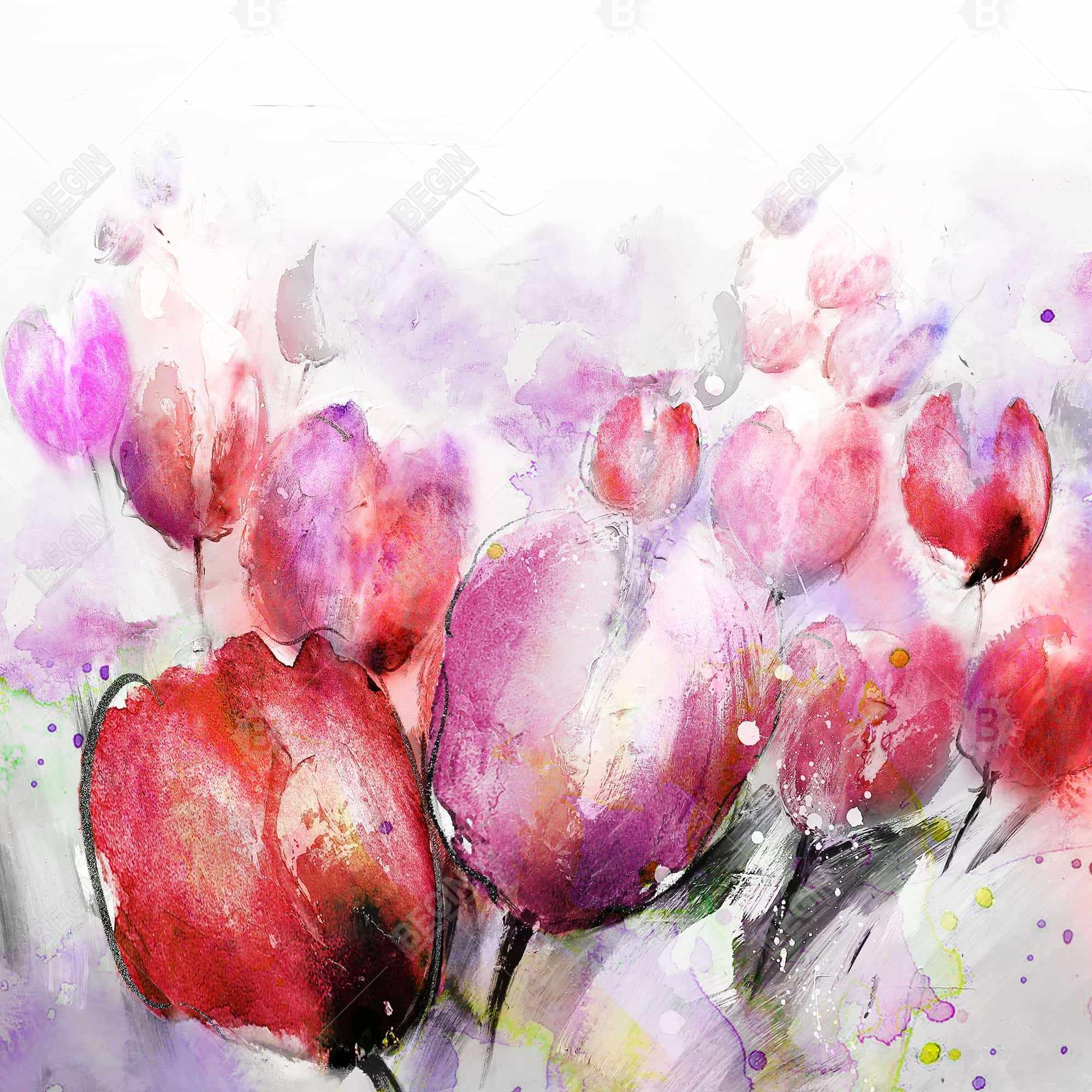 Abstract blurry tulips