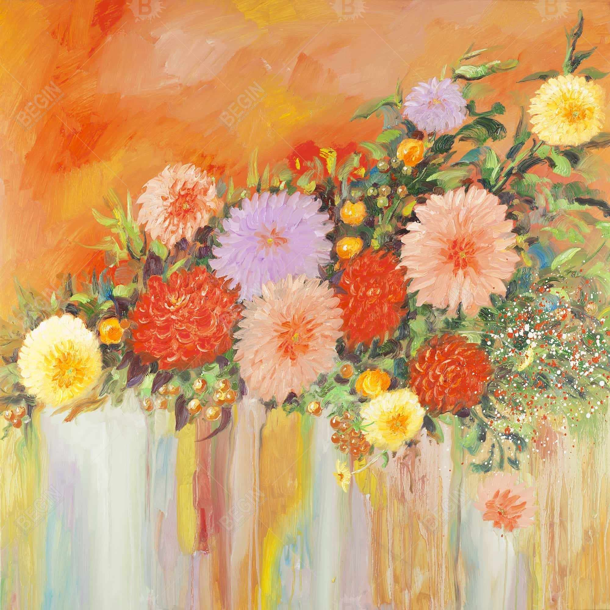 Fleurs pivoines abstraites et colorées