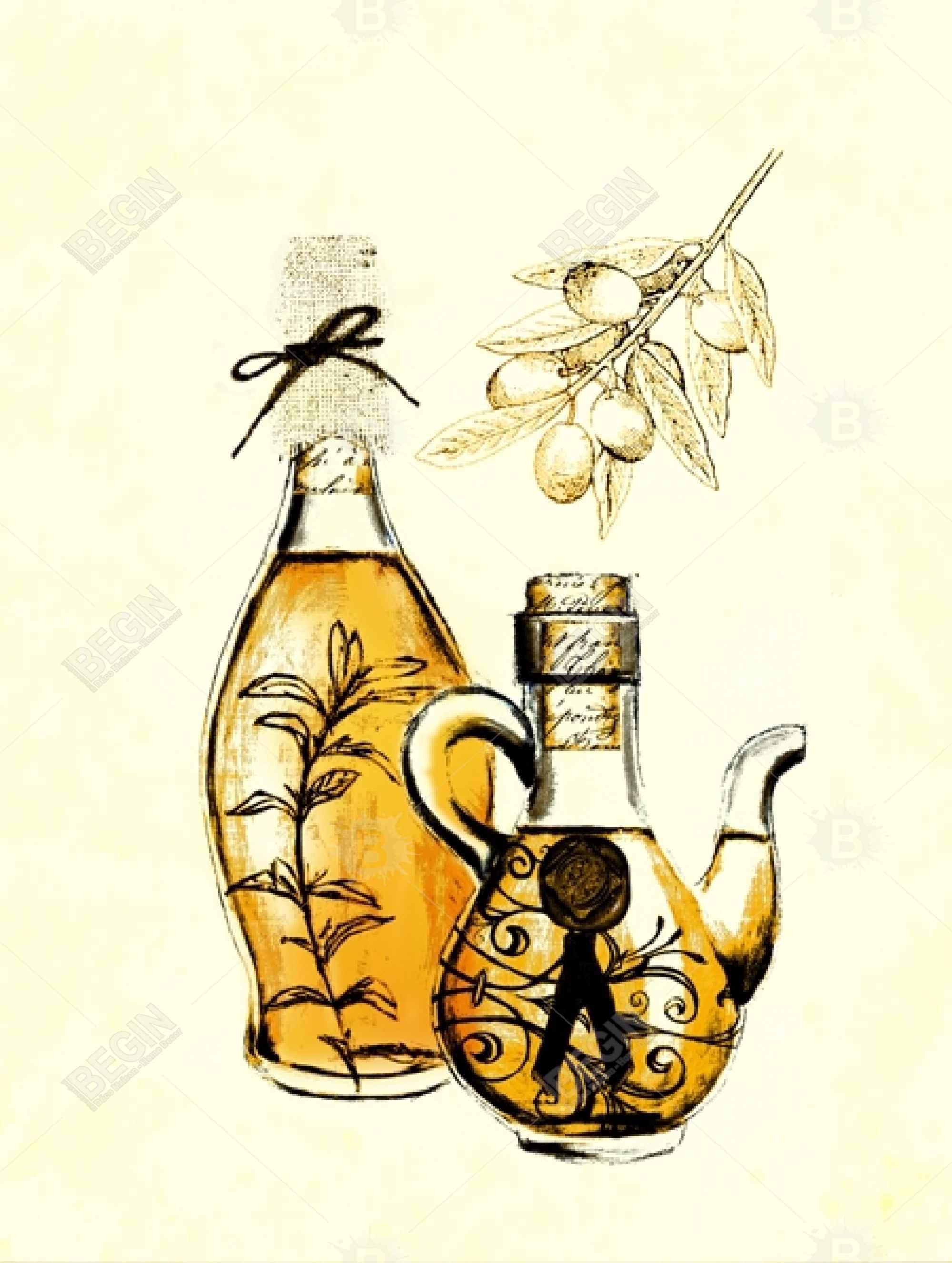 Two bottles of olive oil