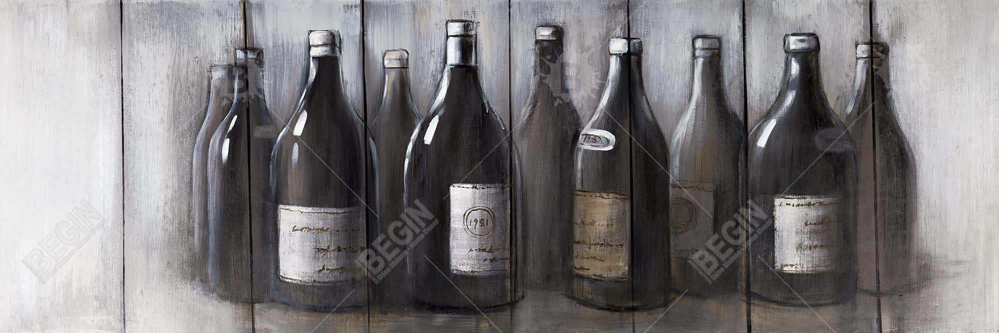 Bottles of wine with wood finish