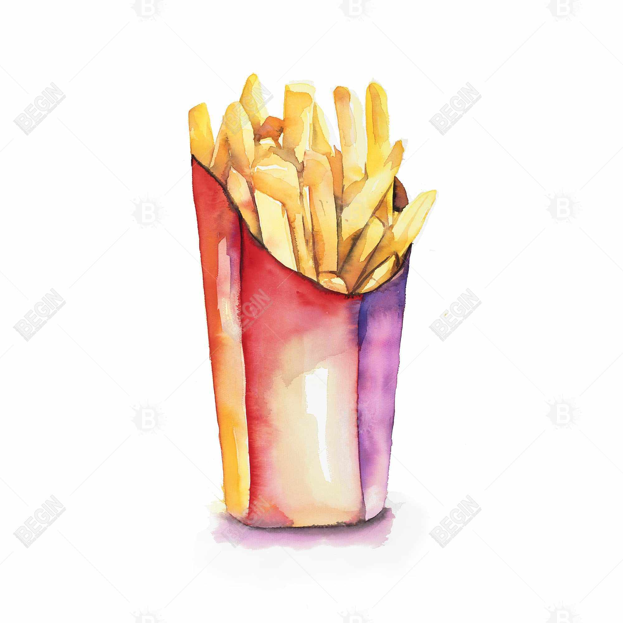 Watercolor french fries