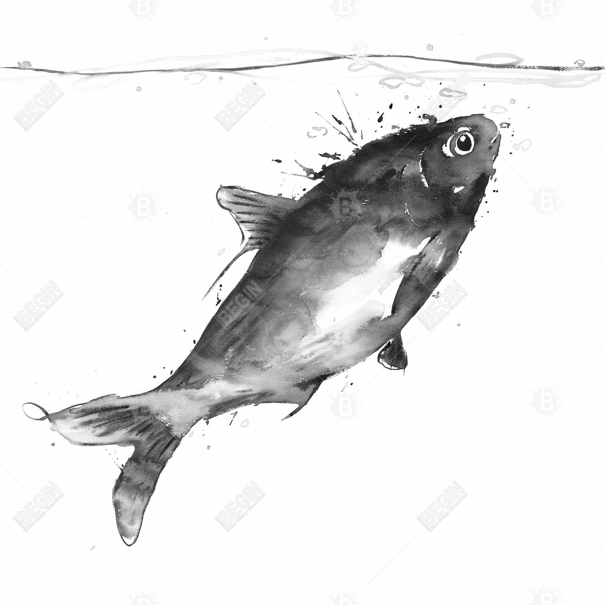 Happy swimming fish