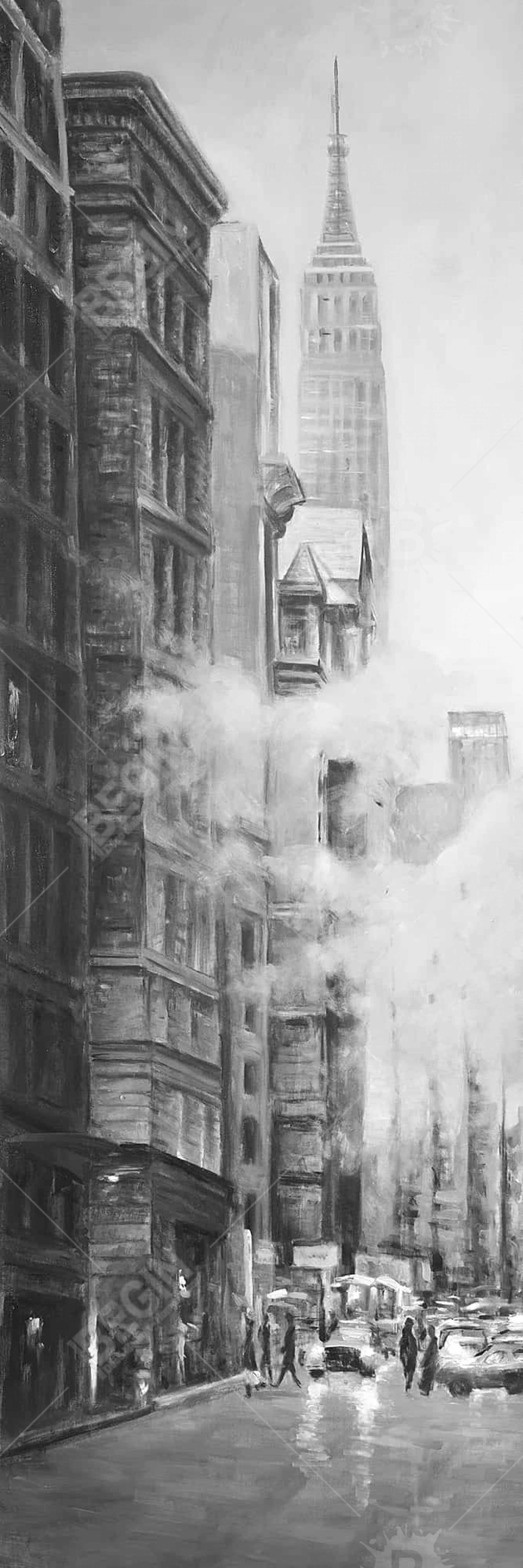 Morning in the streets of new-york city monochrome