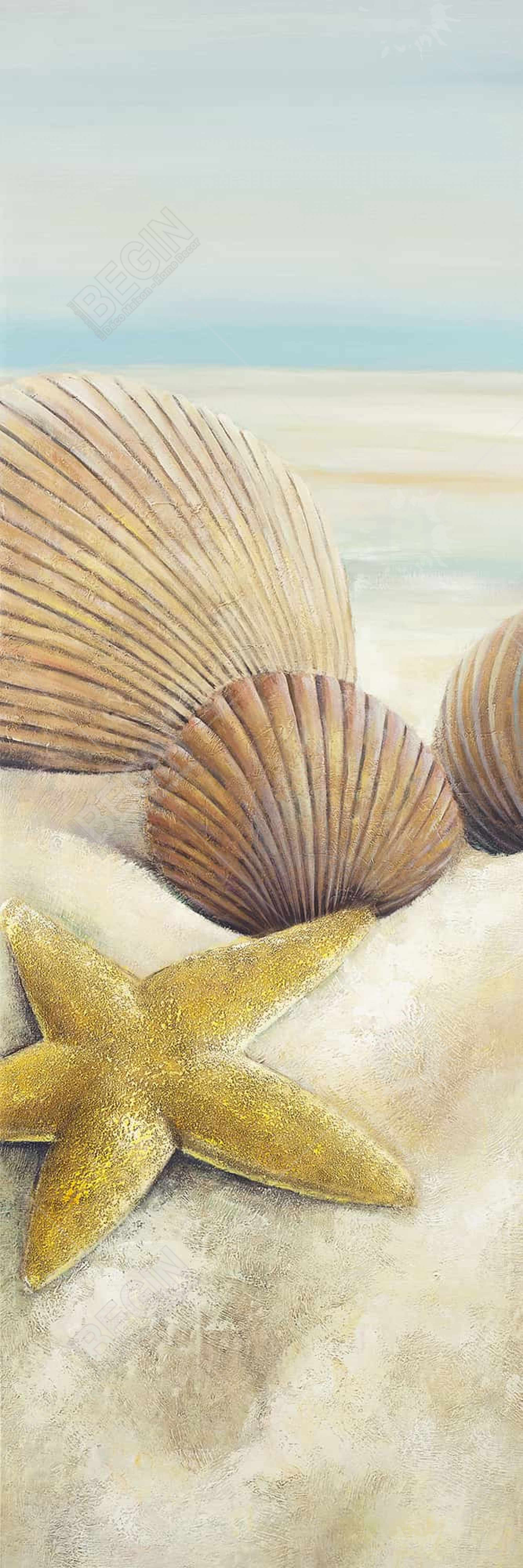 Starfish and seashells view on the beach