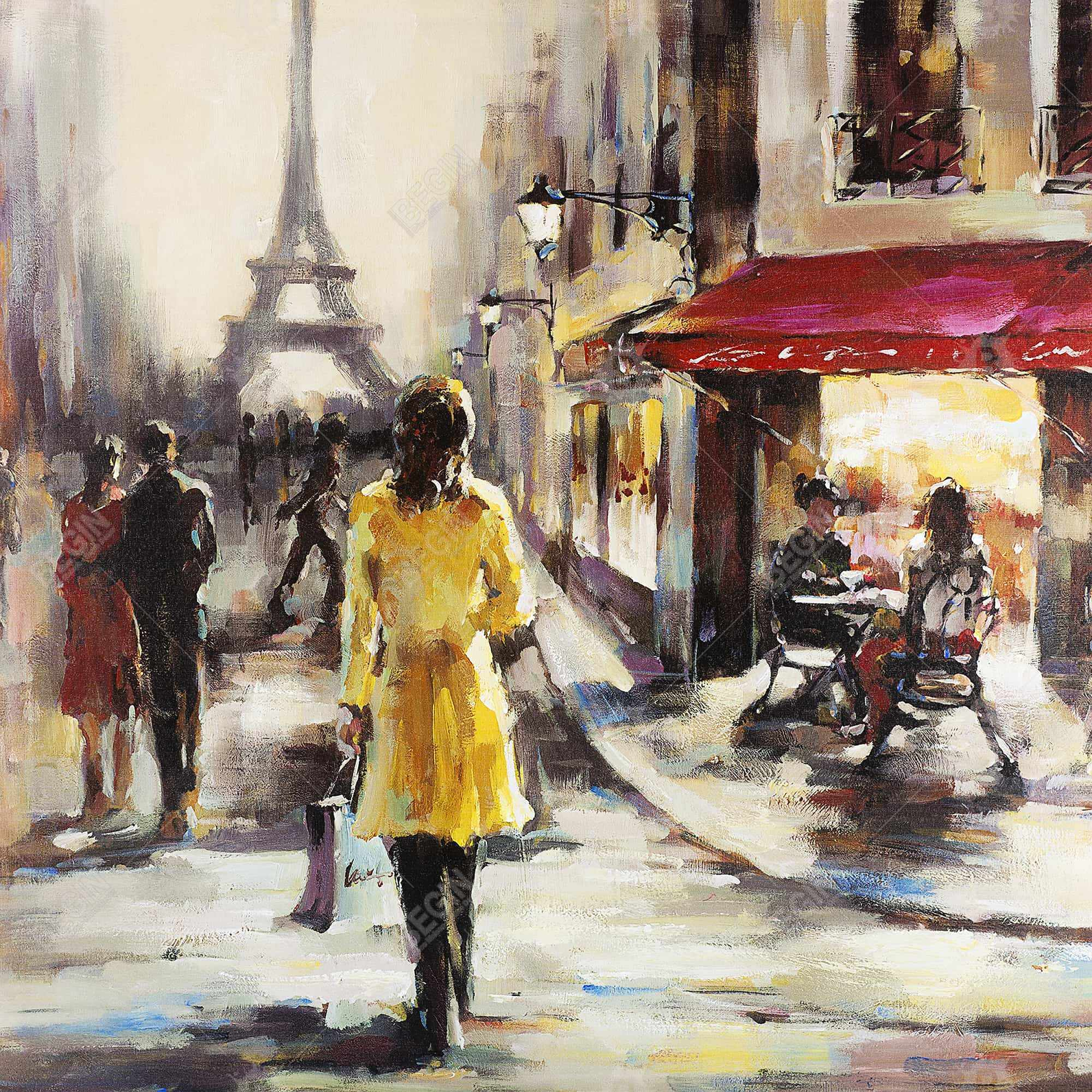 Yellow coat woman walking on the street