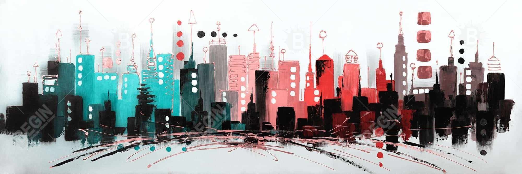 Cityscape with rose gold colors
